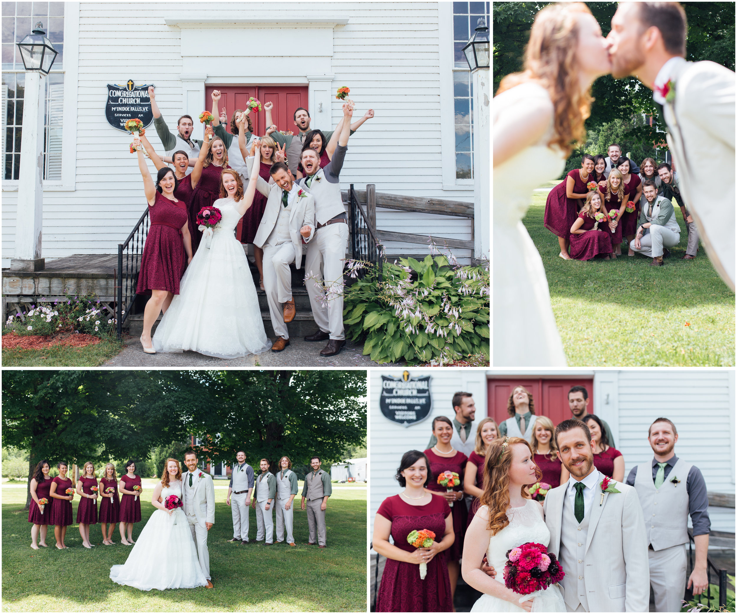 Wedding party in Vermont cheers and smiles and fun photography