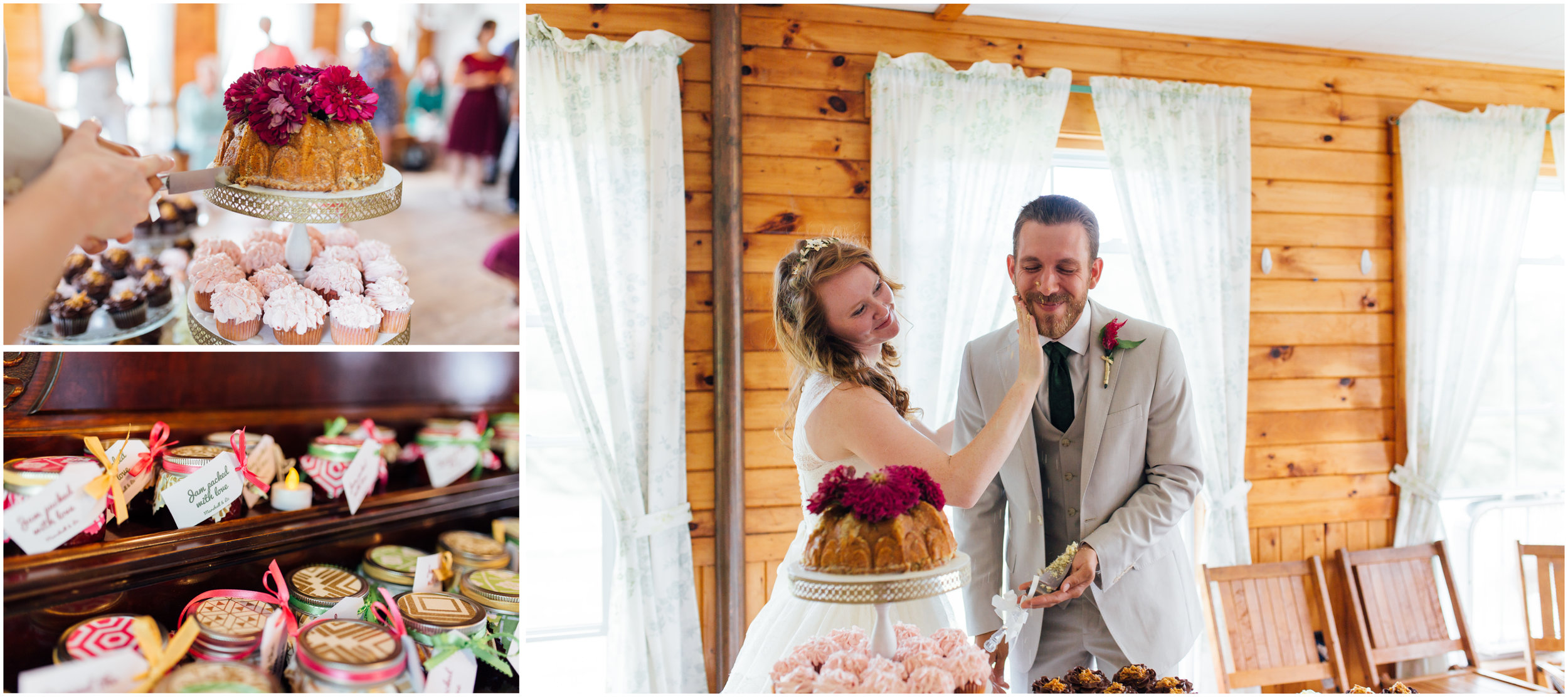 Bride and groom cut cake and bride smashes cake in groom's face and laughs