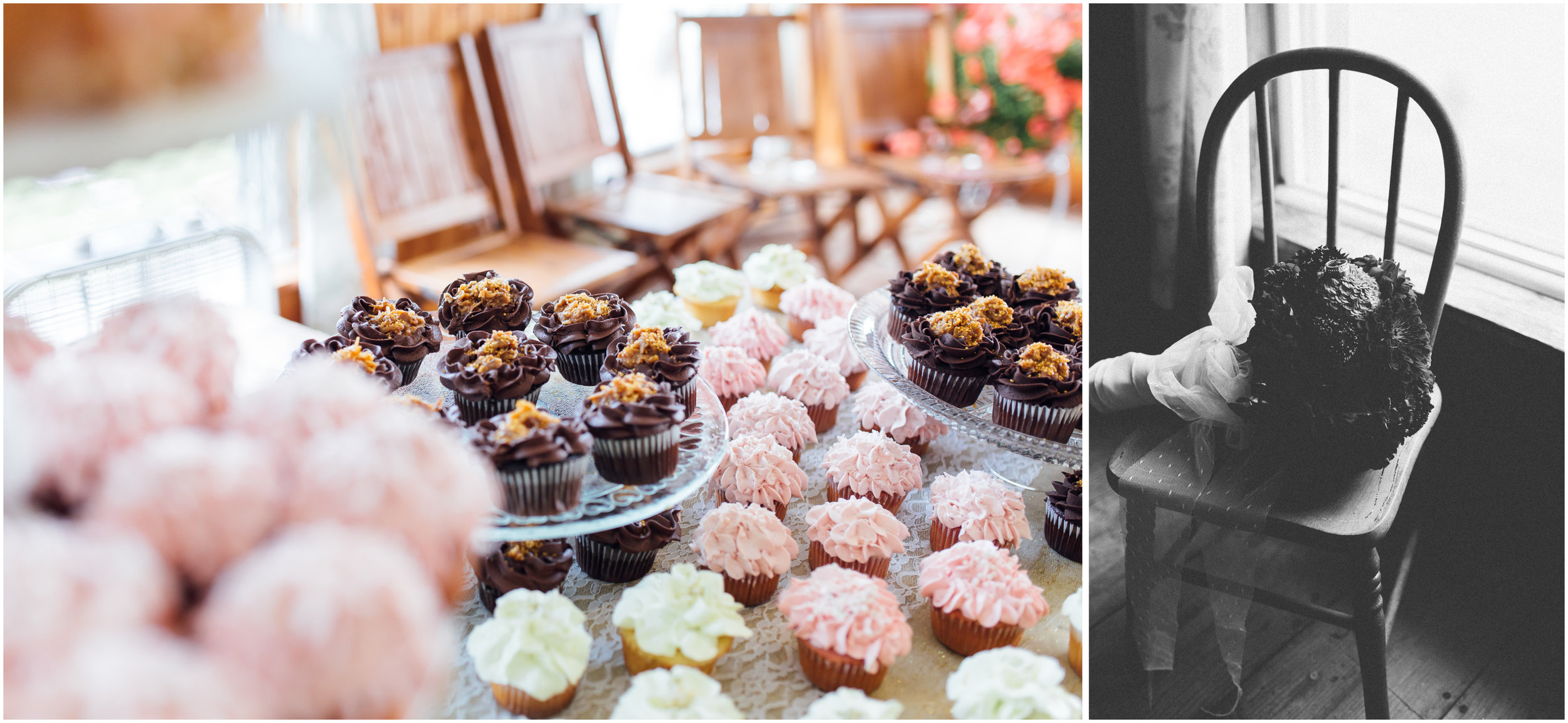 Wedding cupcakes and bouquet in Vermont