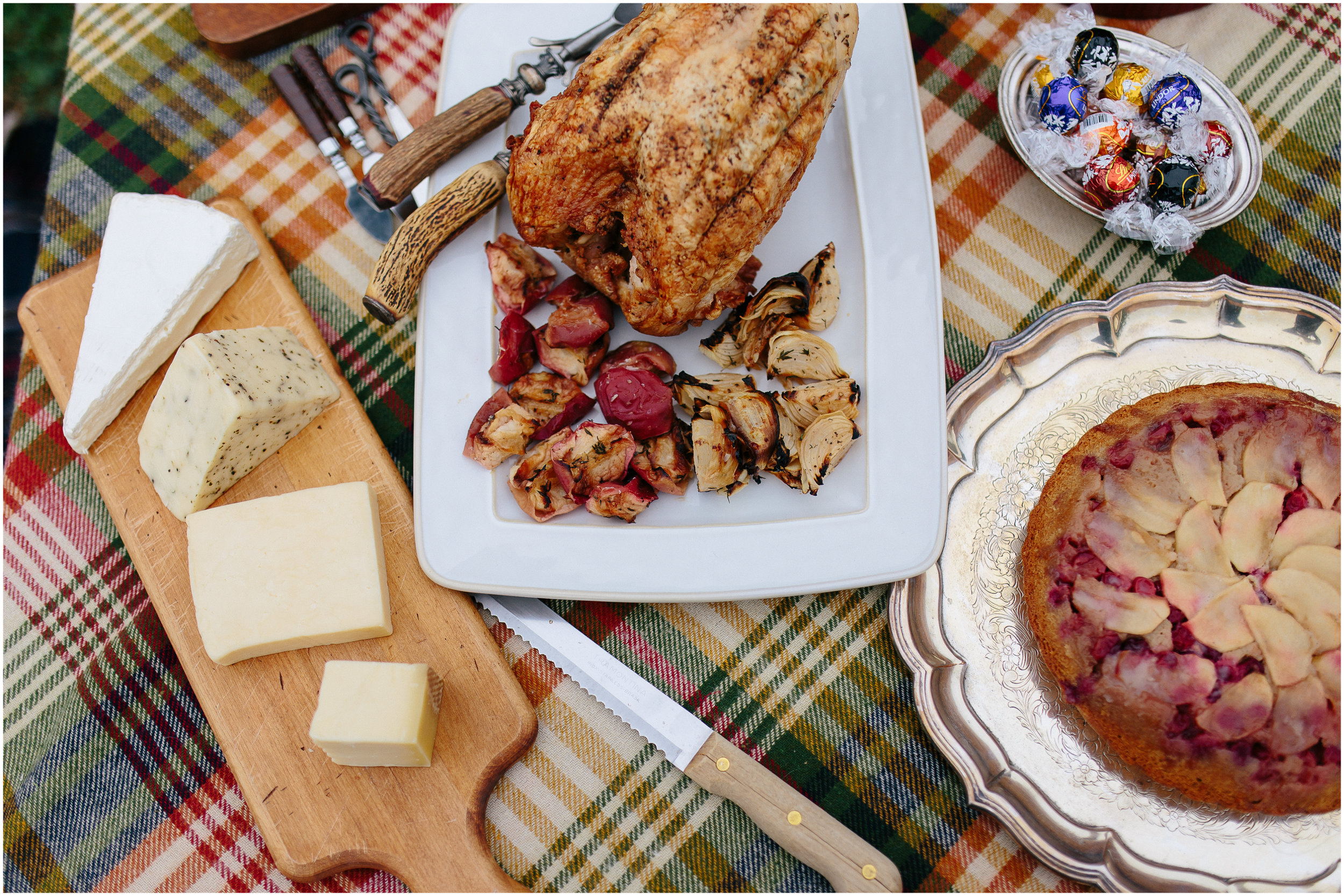 Stylish food of chicken, roasted apples, onions, cheese, brie, pie, chocolate