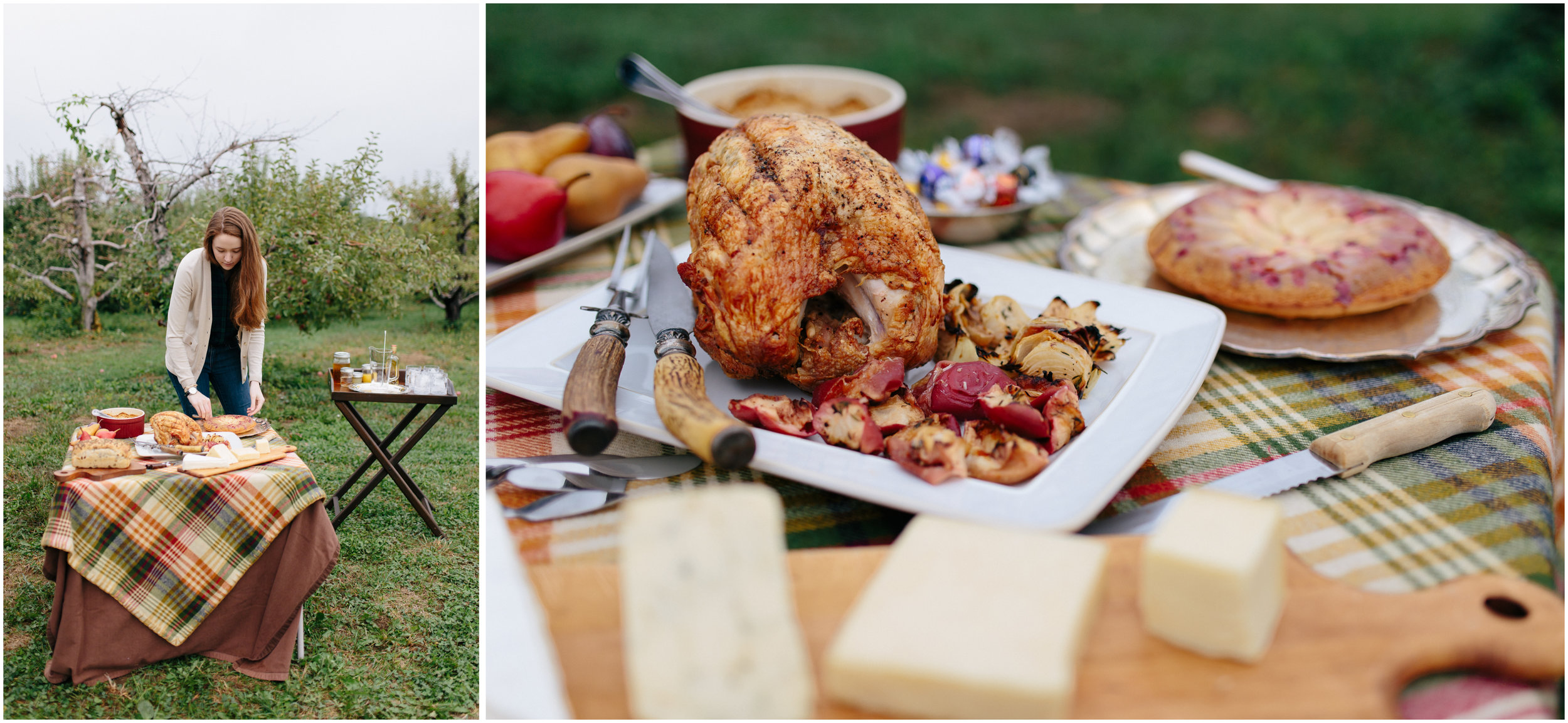 Julia Harpe makes beautiful food - chicken, apples, onions, cheese, bread