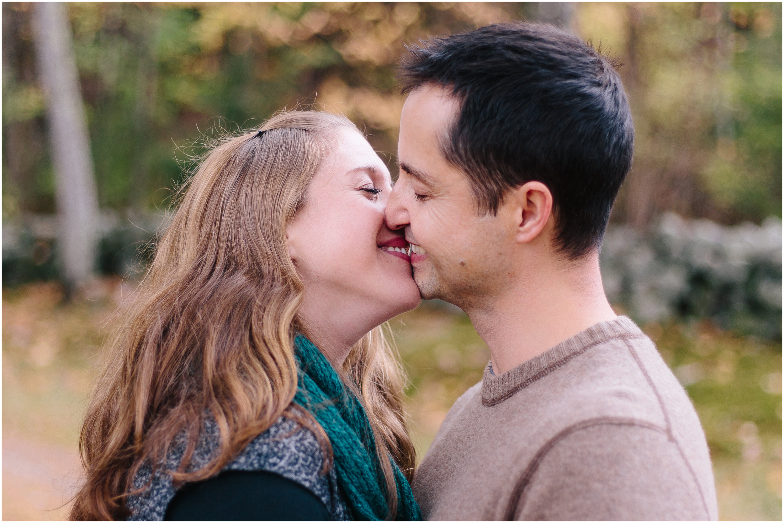 Fall autumn Monson Village Center family photography in Milford, New Hampshire kiss
