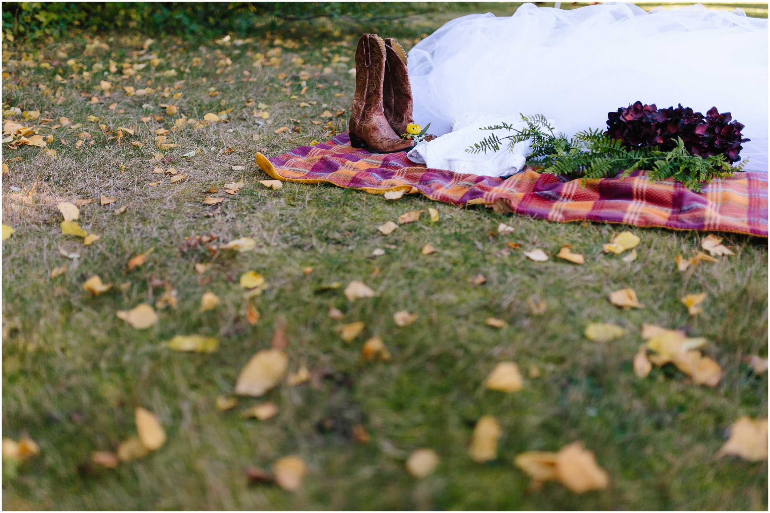 Ashleigh Laureen Photography Journalistic Fall Wedding in Hooksett, New Hampshire, Dress and Boots and Flowers