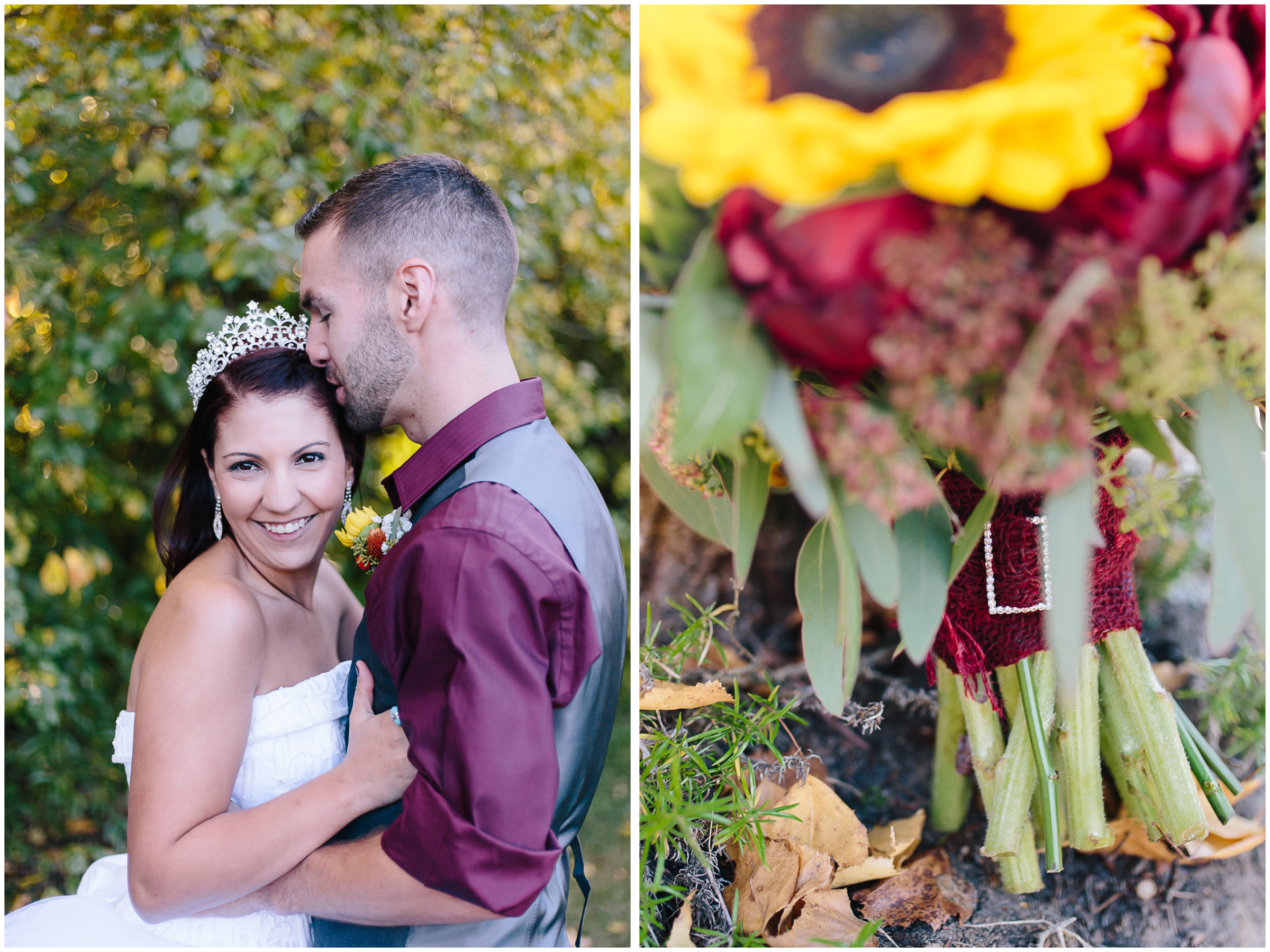 Ashleigh Laureen Photography Journalistic Fall Wedding in Hooksett, New Hampshire, Bride and Groom and Flower Bouquet