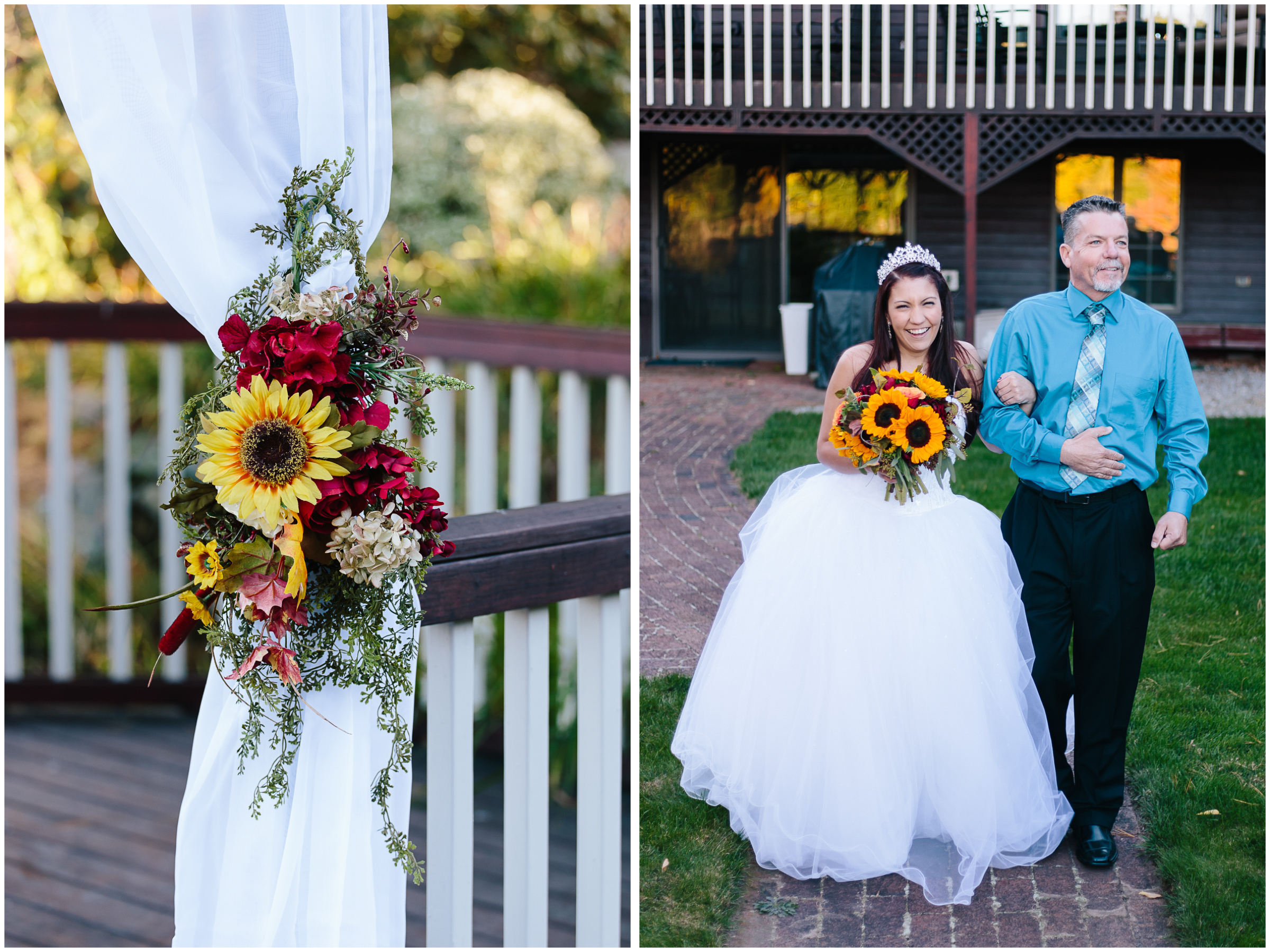 Ashleigh Laureen Photography Journalistic Fall Wedding in Hooksett, New Hampshire, Bride and Father Ceremony