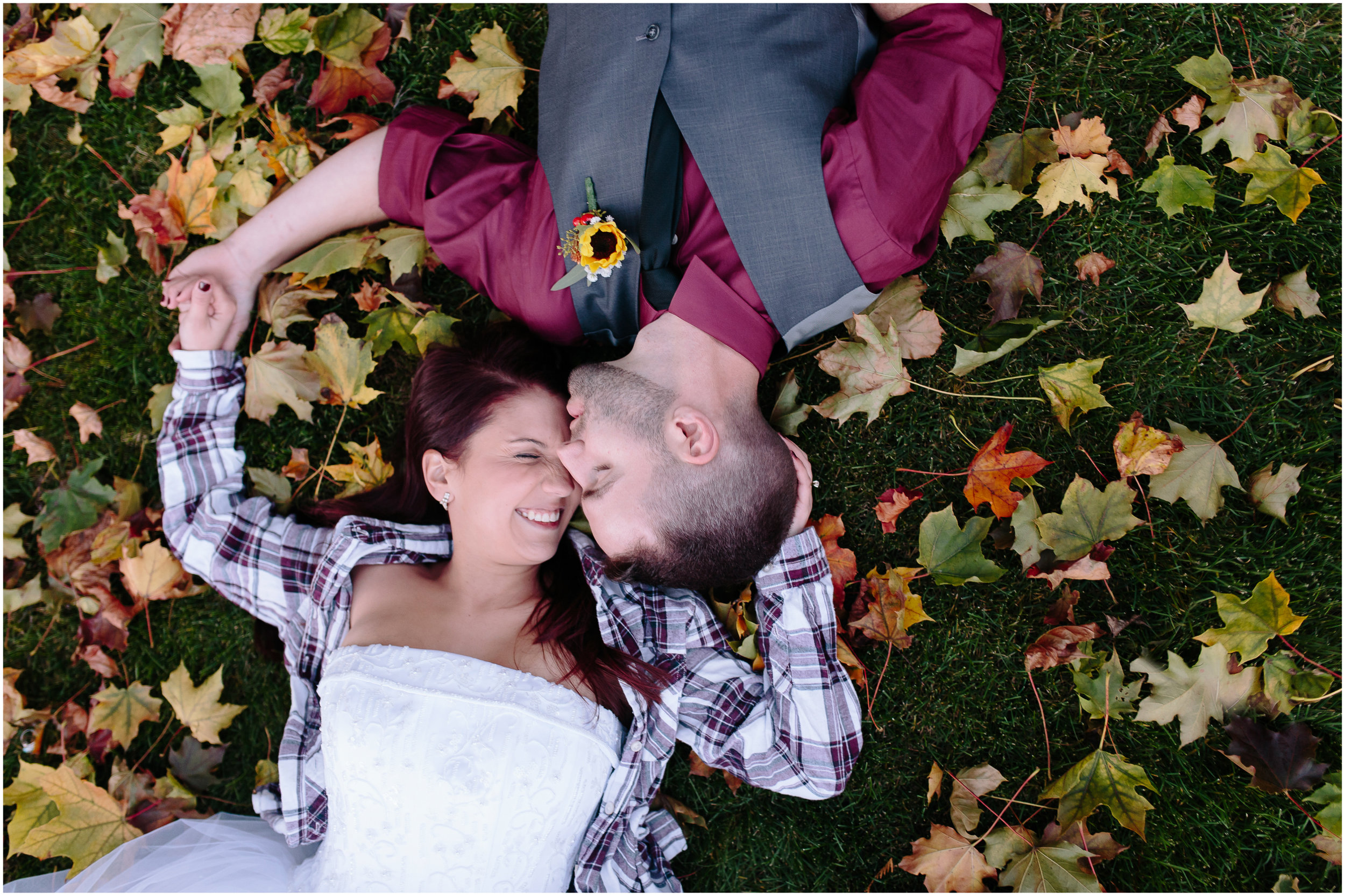 Ashleigh Laureen Photography Journalistic Fall Wedding in Hooksett, New Hampshire, Bride and Groom Laughter and Leaves