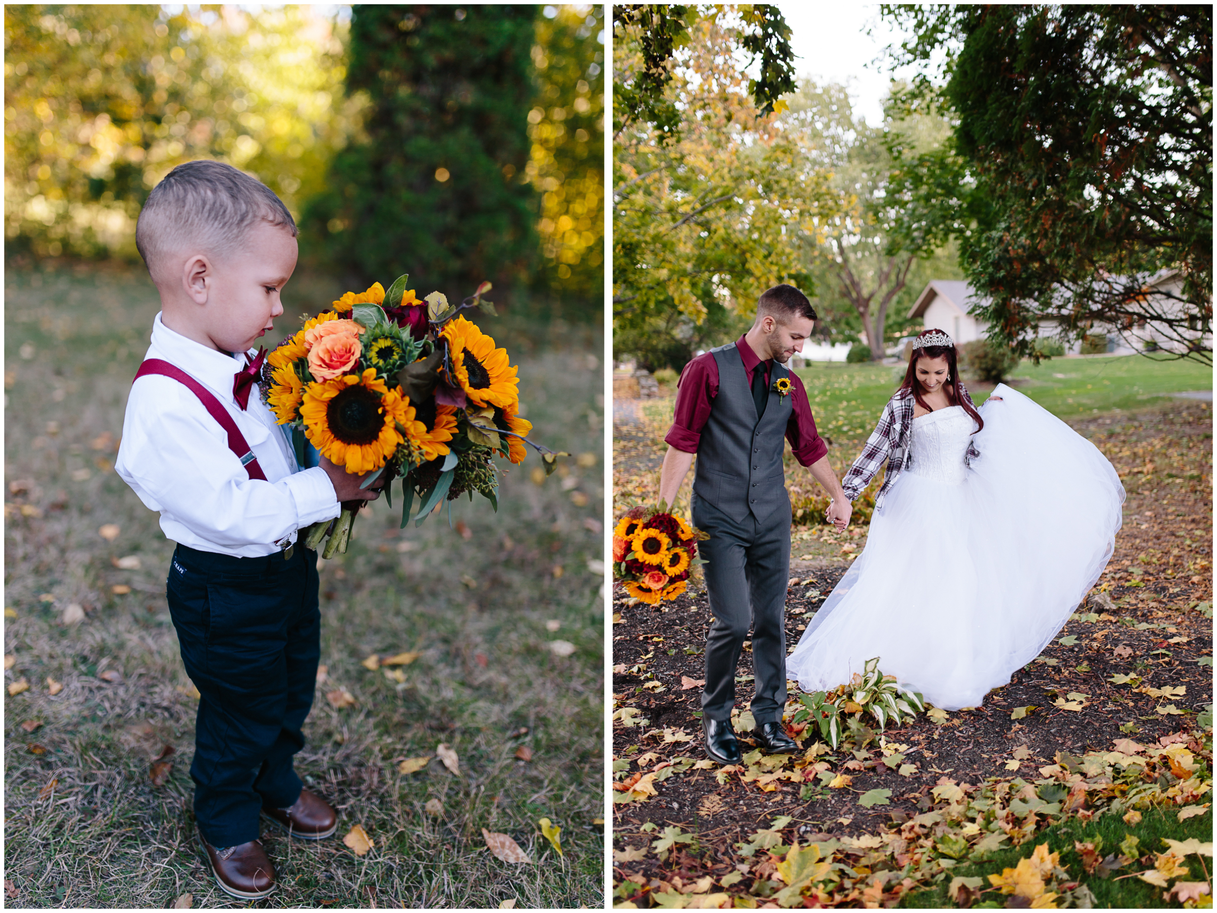Ashleigh Laureen Photography Journalistic Fall Wedding in Hooksett, New Hampshire, Bride and Groom and Cute Ringbearer