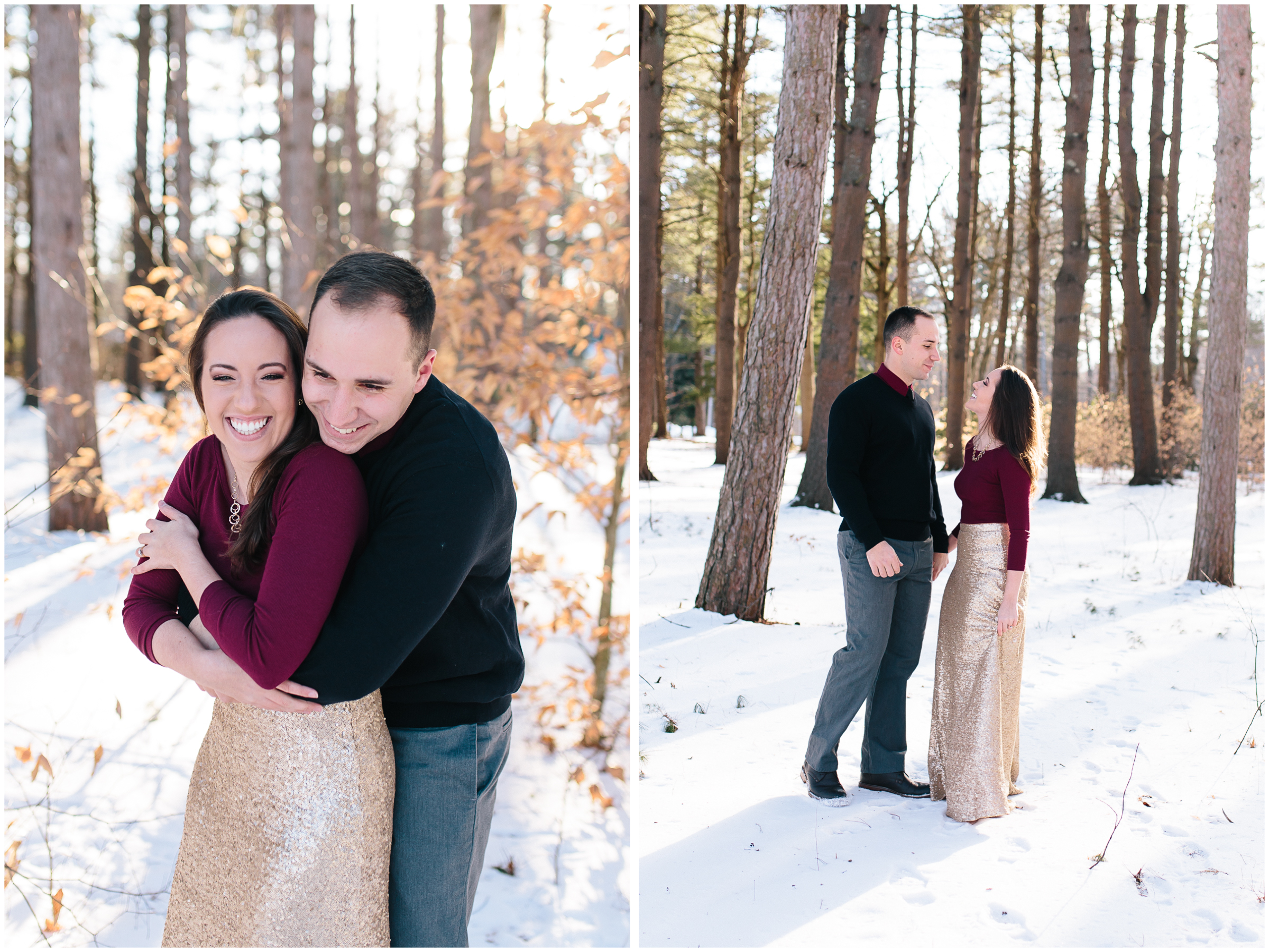 Classy winter laughter engagement at Rollins Park in Concord, New Hampshire