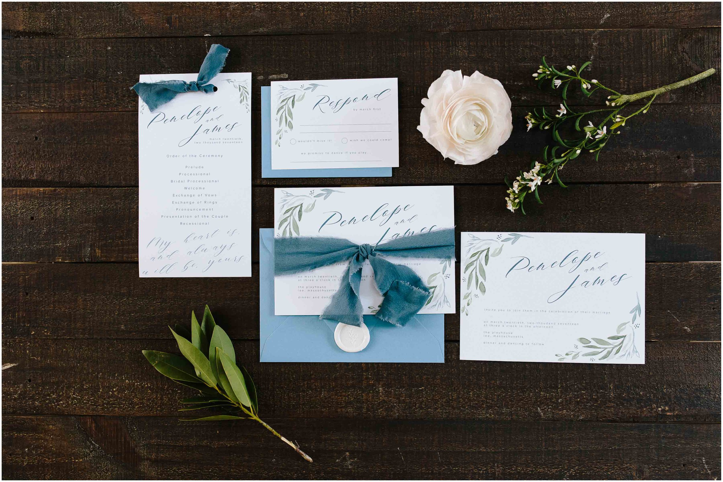 Intimate and romantic styled wedding photography in Lee, Massachusetts in the Berkshires - invitation suite