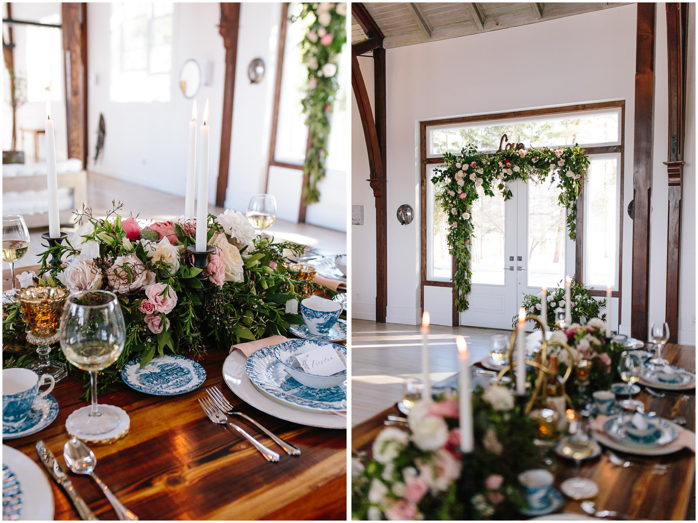 Intimate and romantic styled wedding photography in Lee, Massachusetts in the Berkshires - tablescape