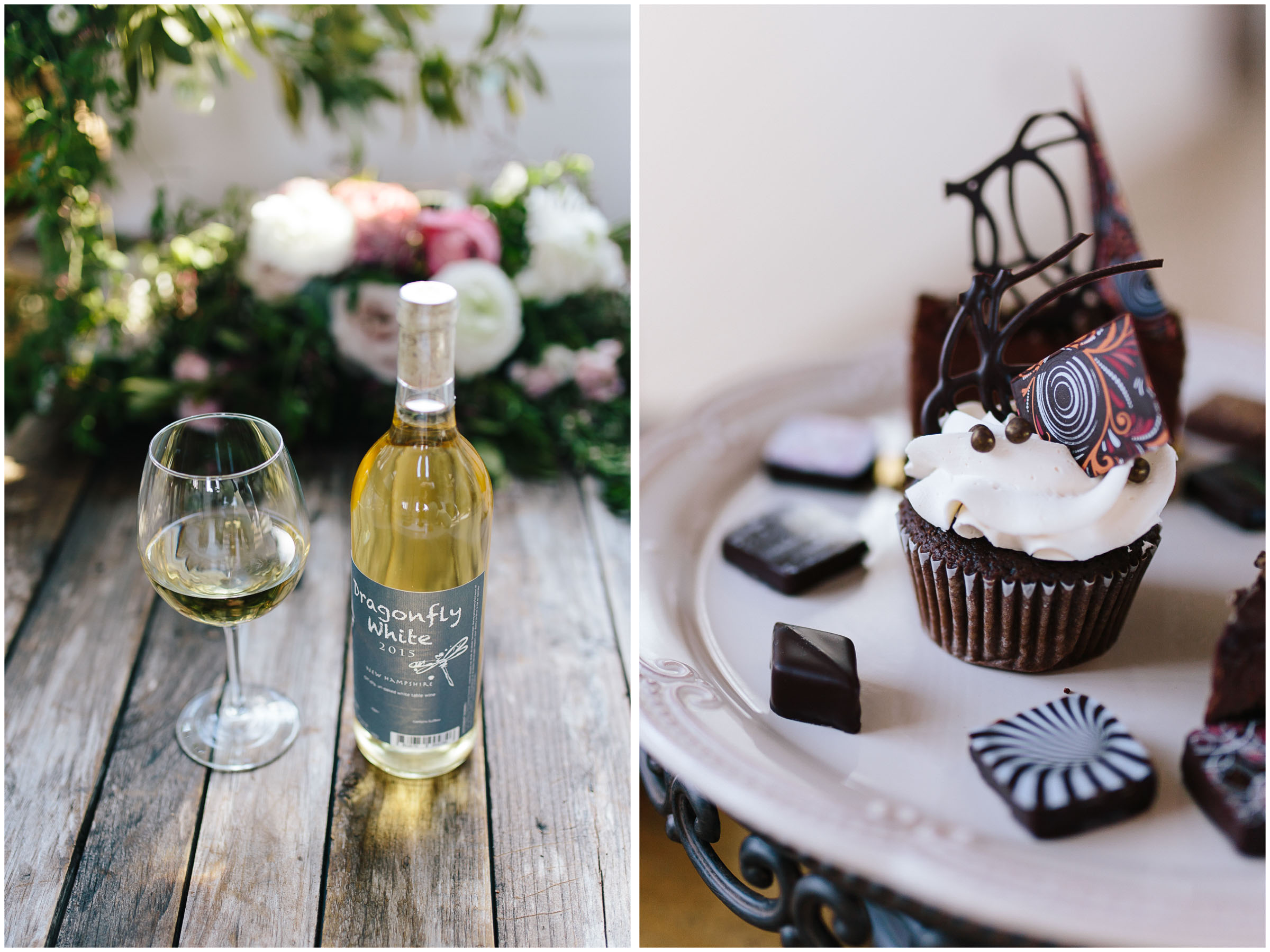 Intimate and romantic styled wedding photography in Lee, Massachusetts in the Berkshires - Appolo wine and chocolates