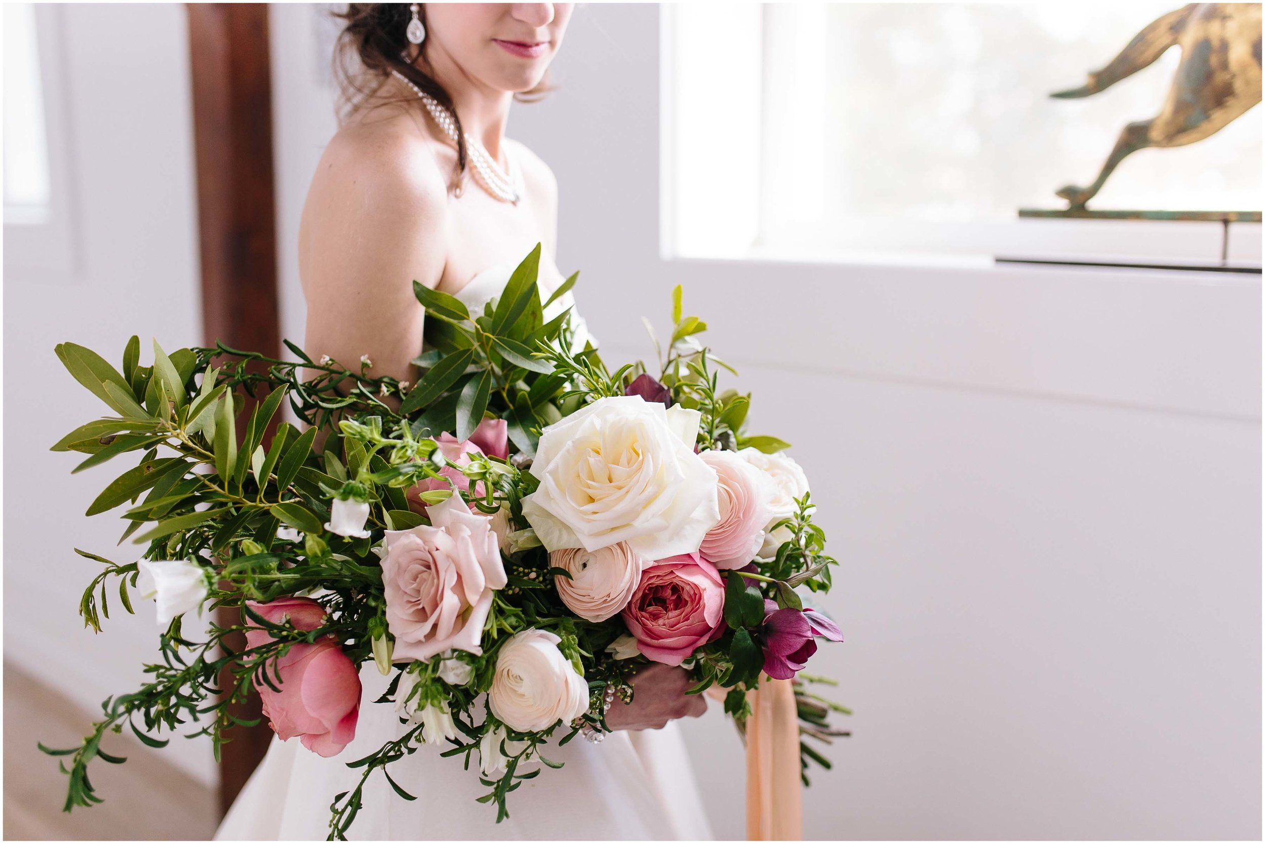 Intimate and romantic styled wedding photography in Lee, Massachusetts in the Berkshires - bride and bouquet