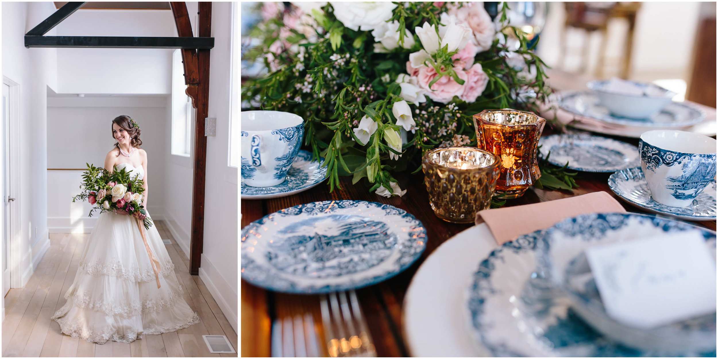 Intimate and romantic styled wedding photography in Lee, Massachusetts in the Berkshires - bride and tablescape