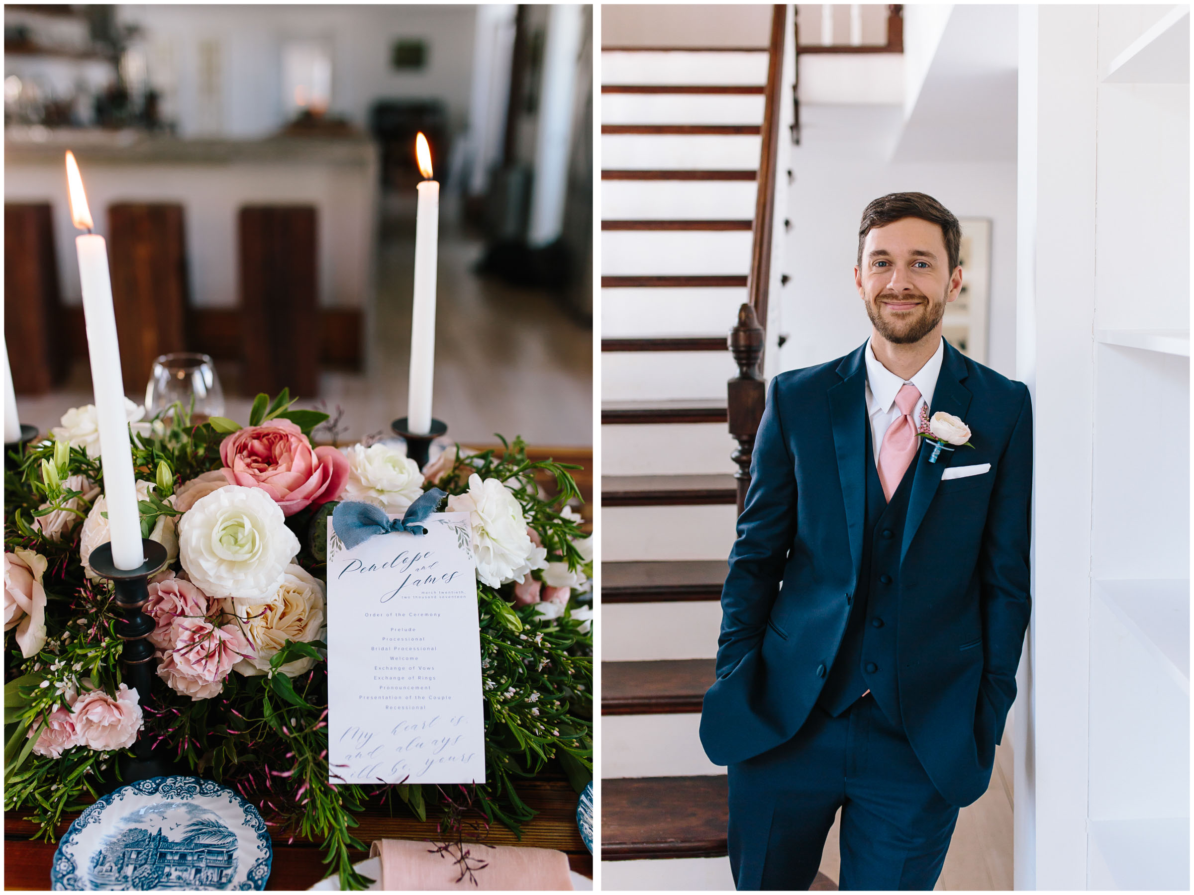 Intimate and romantic styled wedding photography in Lee, Massachusetts in the Berkshires - groom and tablescape
