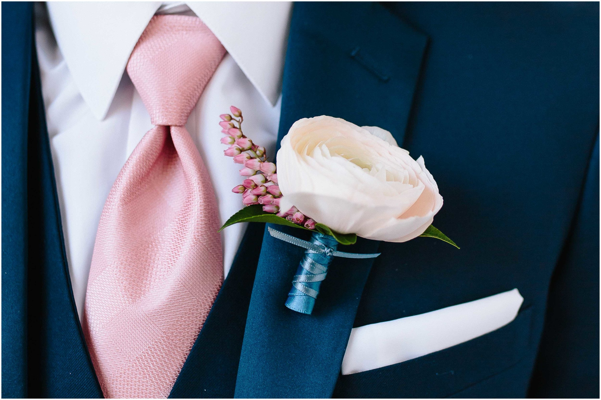 Intimate and romantic styled wedding photography in Lee, Massachusetts in the Berkshires - groom boutonniere