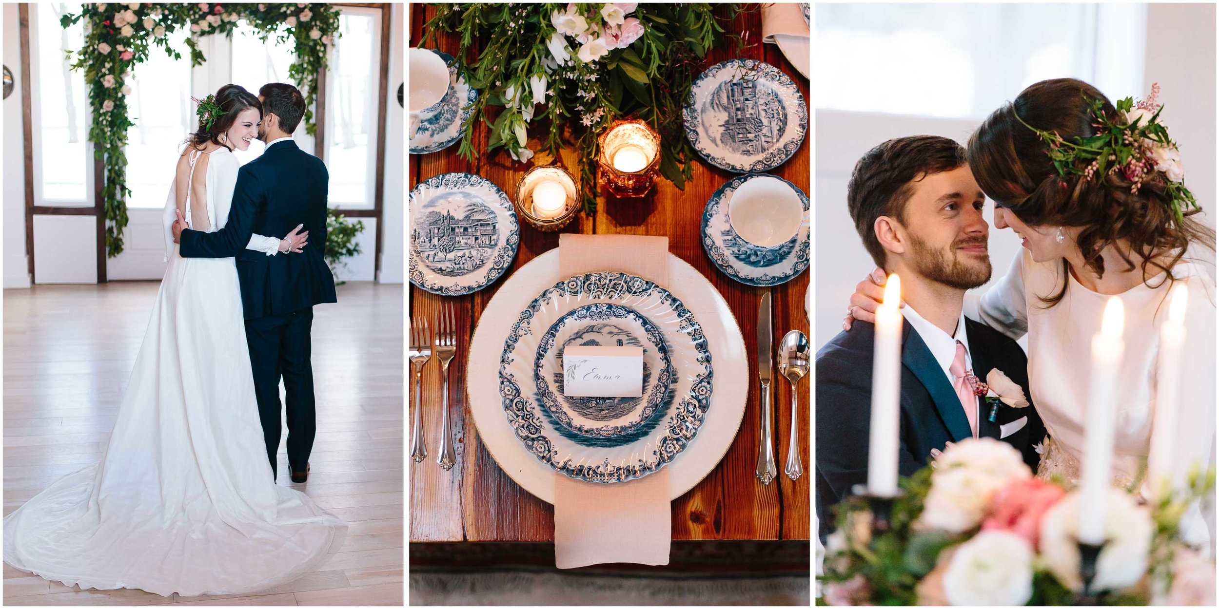 Intimate and romantic styled wedding photography in Lee, Massachusetts in the Berkshires - bride and groom and tablescape