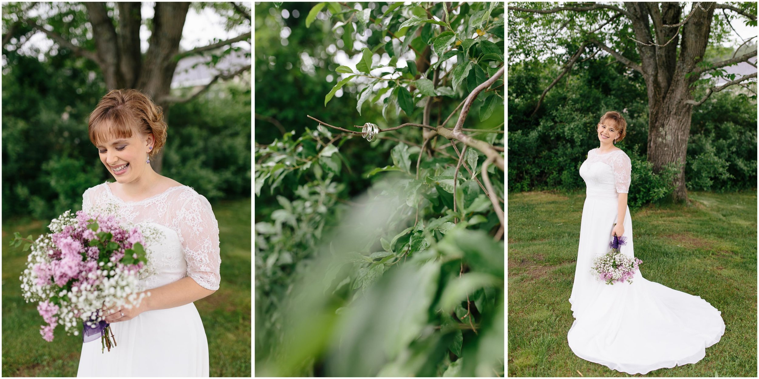 Charming Massachusetts countryside journalistic wedding by Ashleigh Laureen Photography - bride smiling and laughing, rings