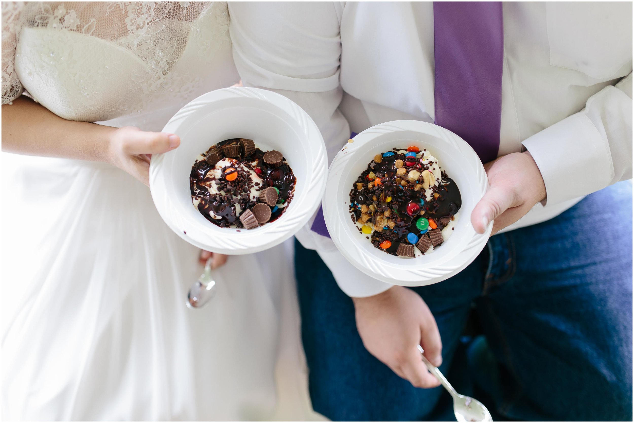 Charming Massachusetts countryside journalistic wedding by Ashleigh Laureen Photography - bride and groom at reception, ice cream sundaes