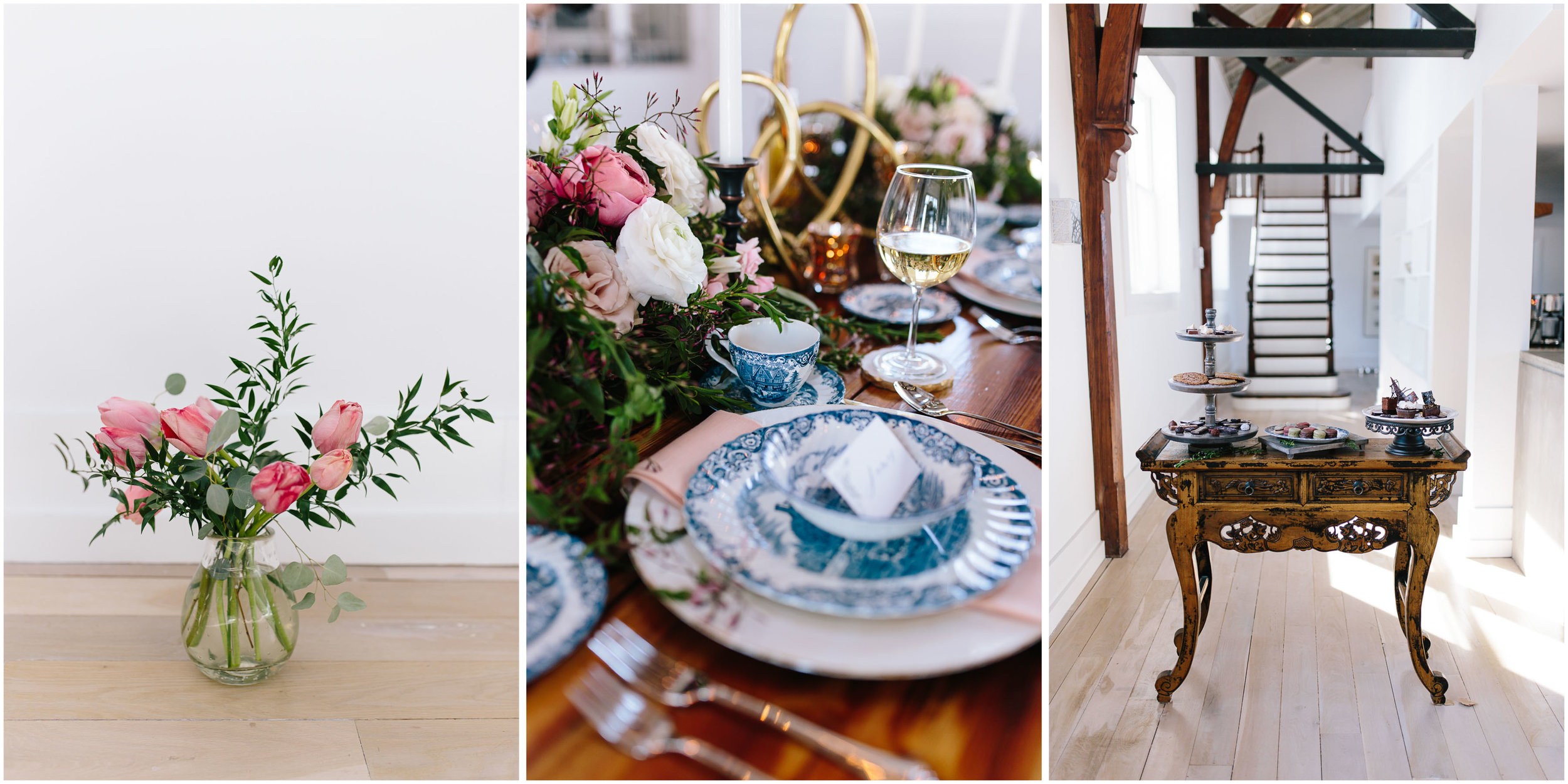 Intimate and romantic styled wedding photography in Lee, Massachusetts in the Berkshires - flowers, tablescape, and dessert