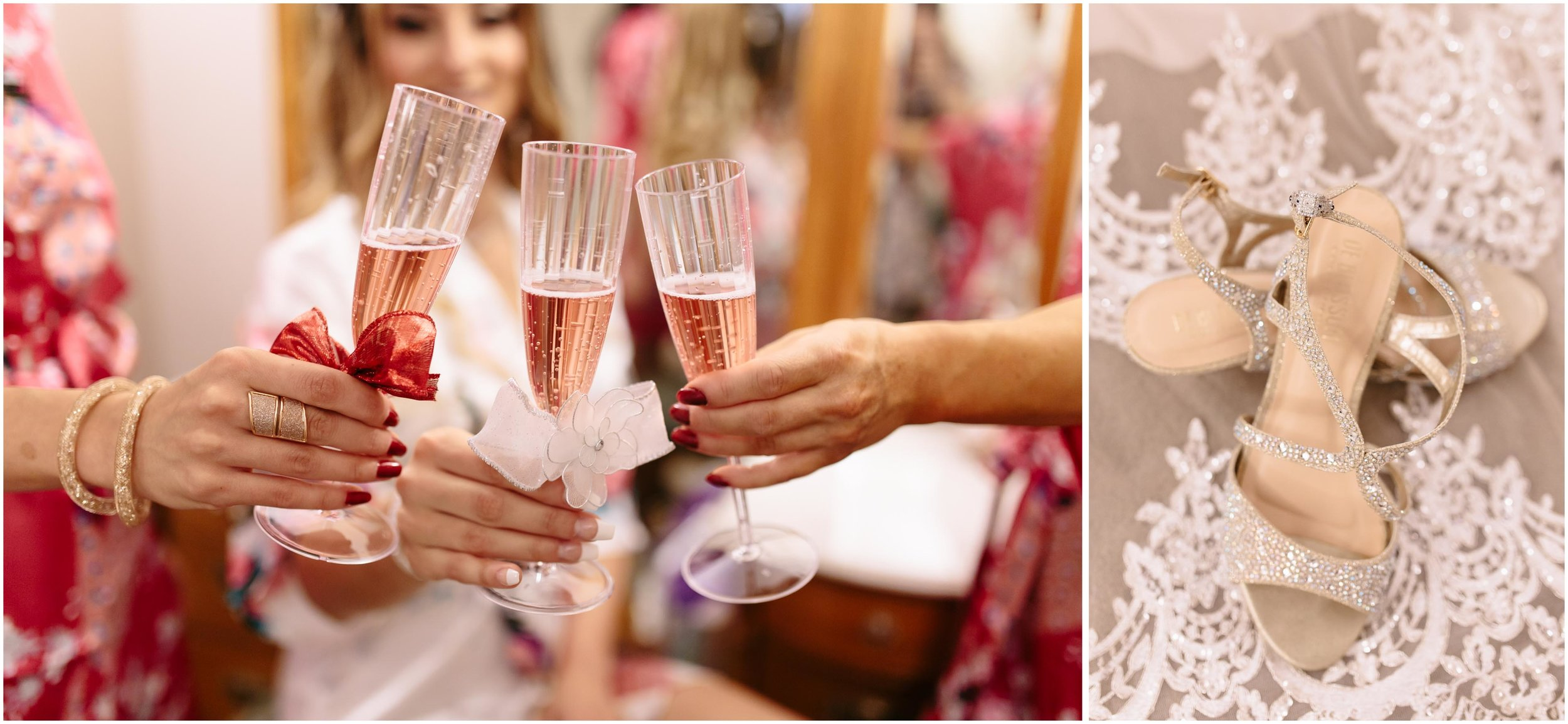 Scenic New Hampshire Wedding at Atkinson Resort and Country Club - Bride and bridesmaids drinking champagne; shoes and diamond ring