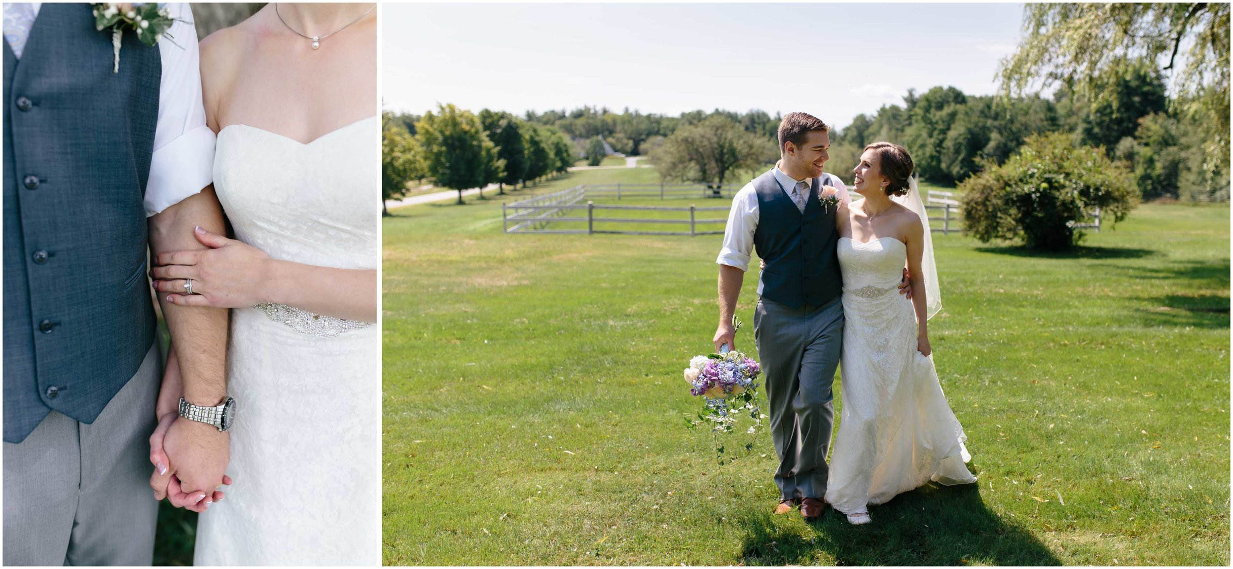Sunny New Hampshire Summer Wedding at Mile Away Restaurant - bride and groom laughing