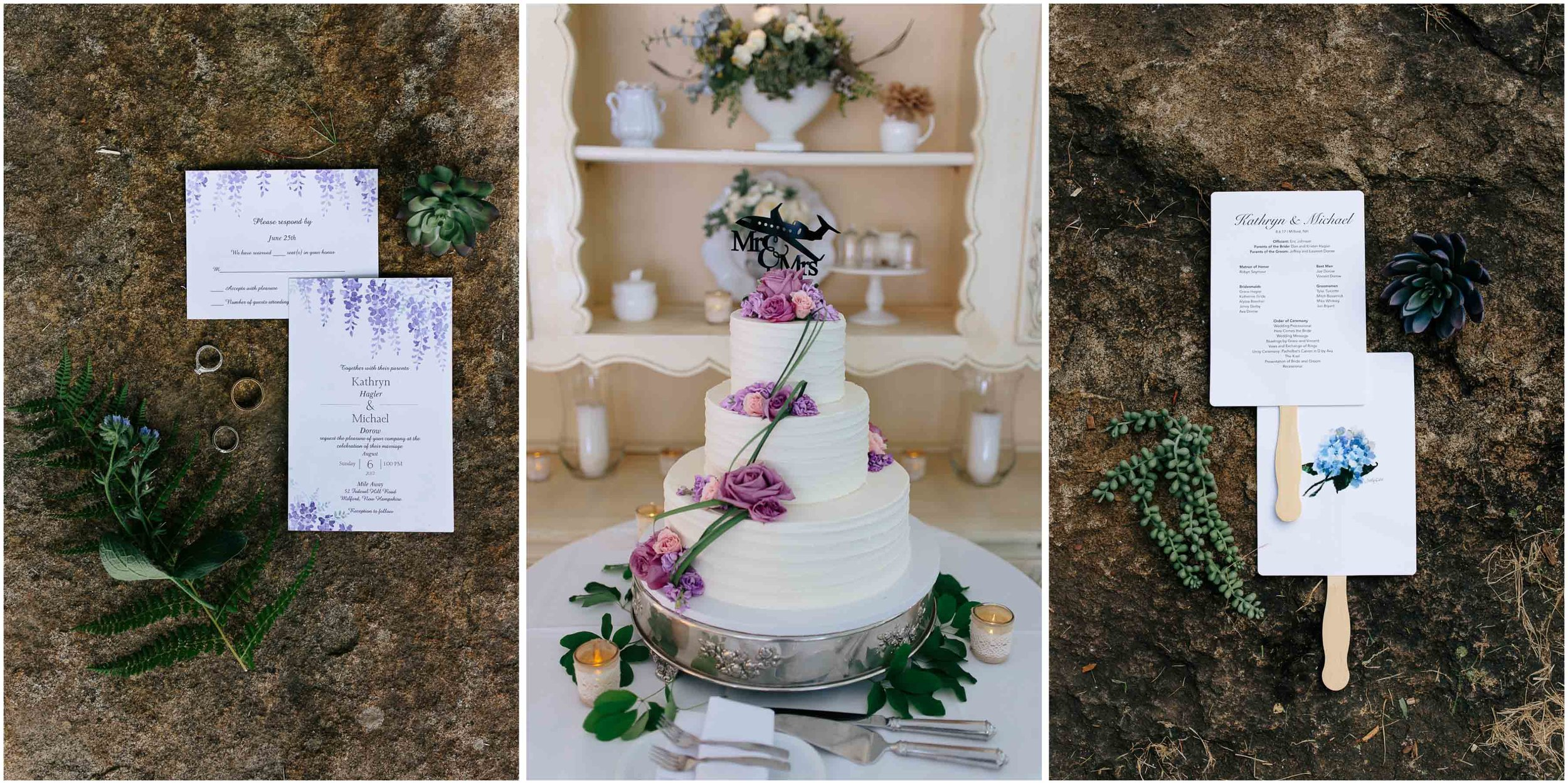 Sunny New Hampshire Summer Wedding at Mile Away Restaurant Milford - invitations and program and cake