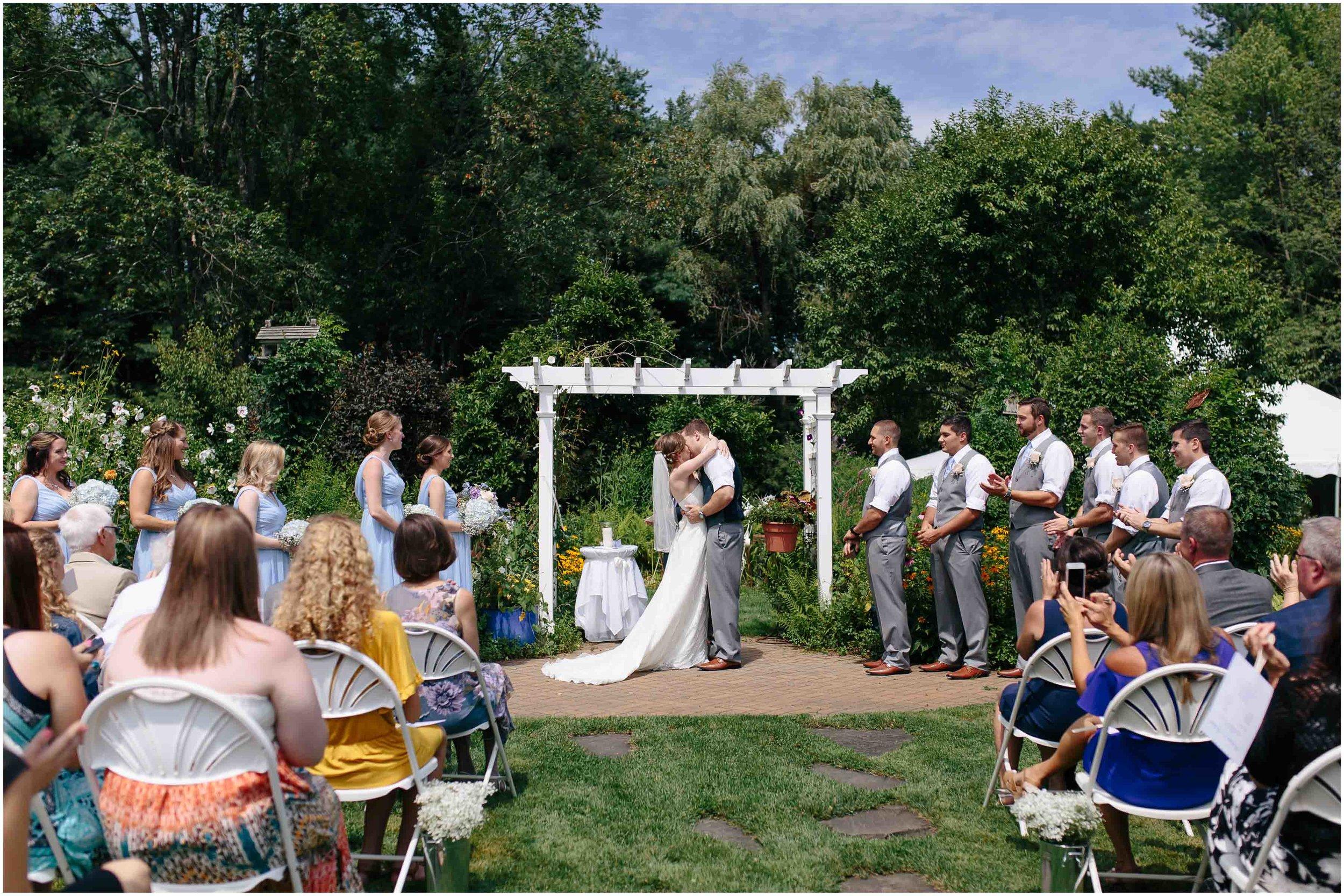 Sunny New Hampshire Summer Wedding at Mile Away Restaurant Milford - kiss