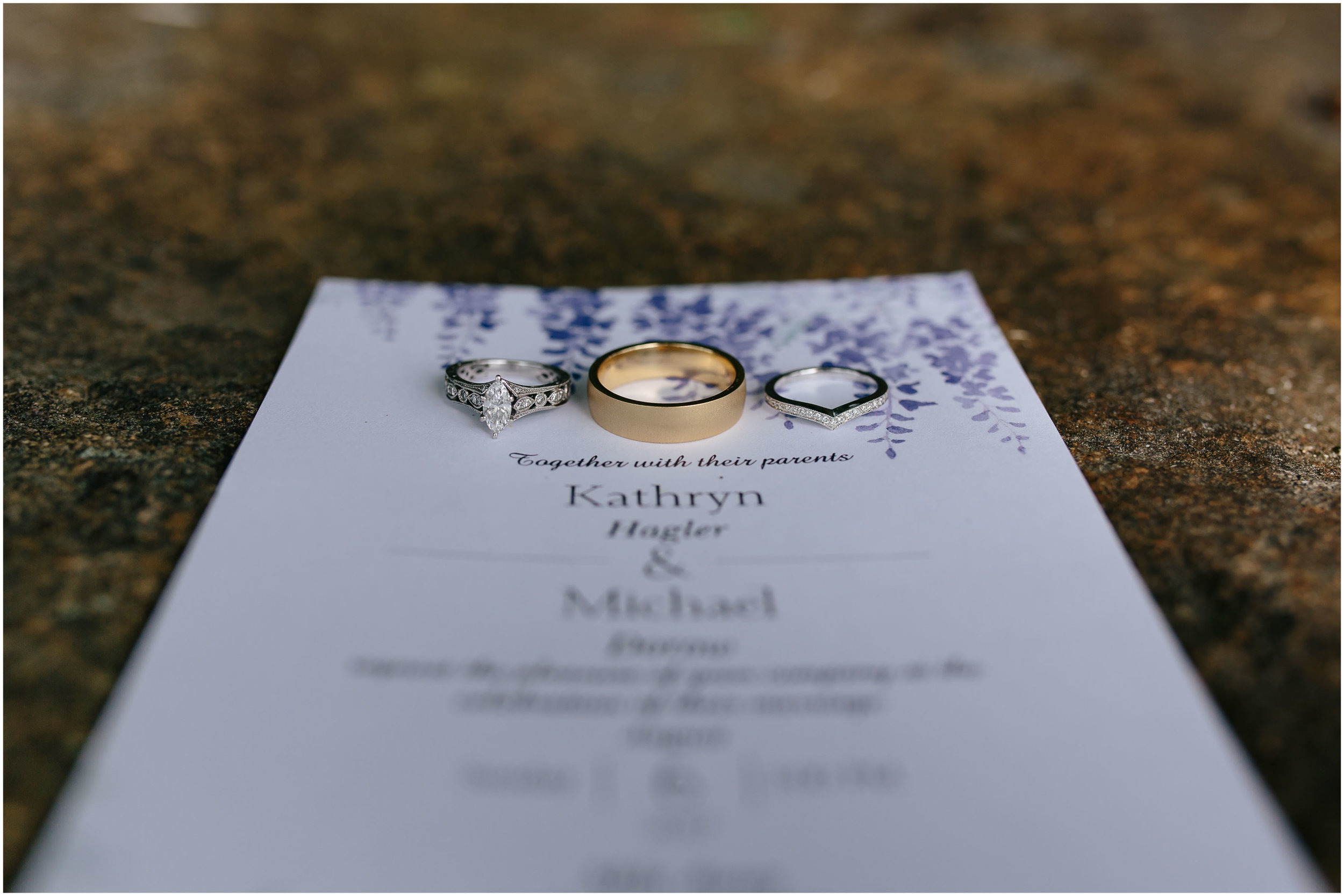 Sunny New Hampshire Summer Wedding at Mile Away Restaurant Milford - invitation and rings