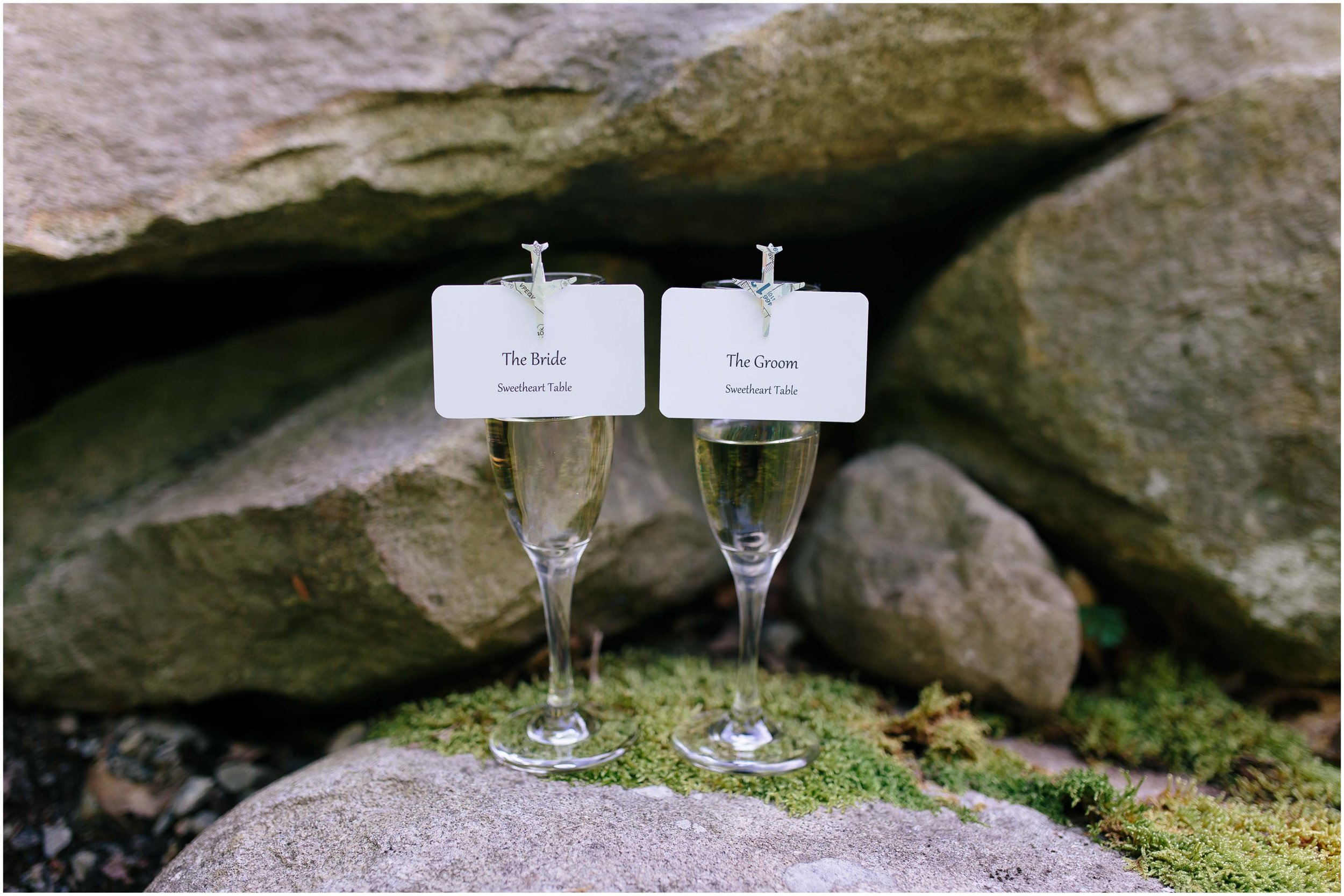 Sunny New Hampshire Summer Wedding at Mile Away Restaurant Milford - champagne flutes for the bride and groom
