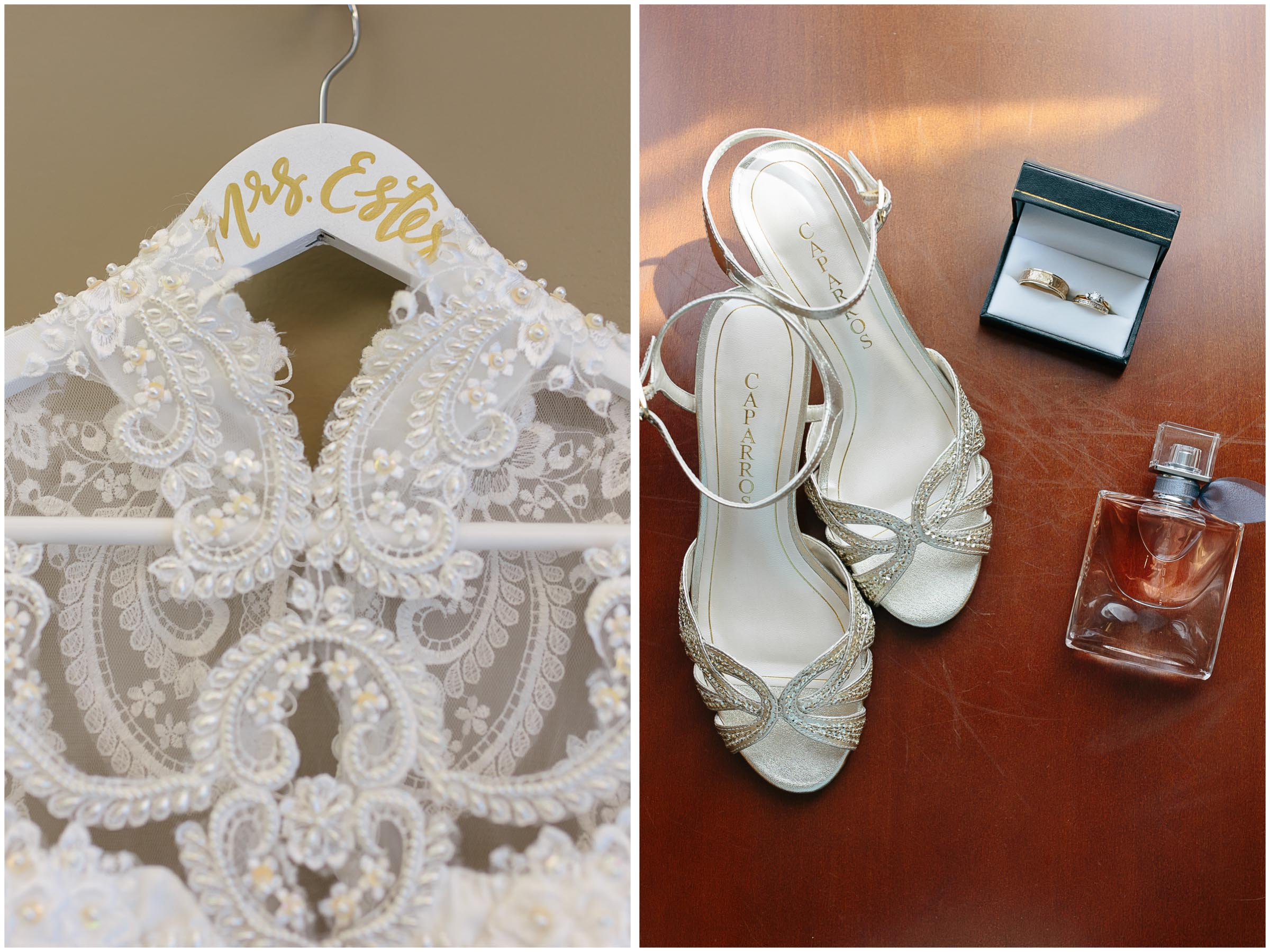 Chic New Hampshire Wedding at Manchester Country Club Bedford - dress, gown, shoes, rings, and La Vie est Belle perfume