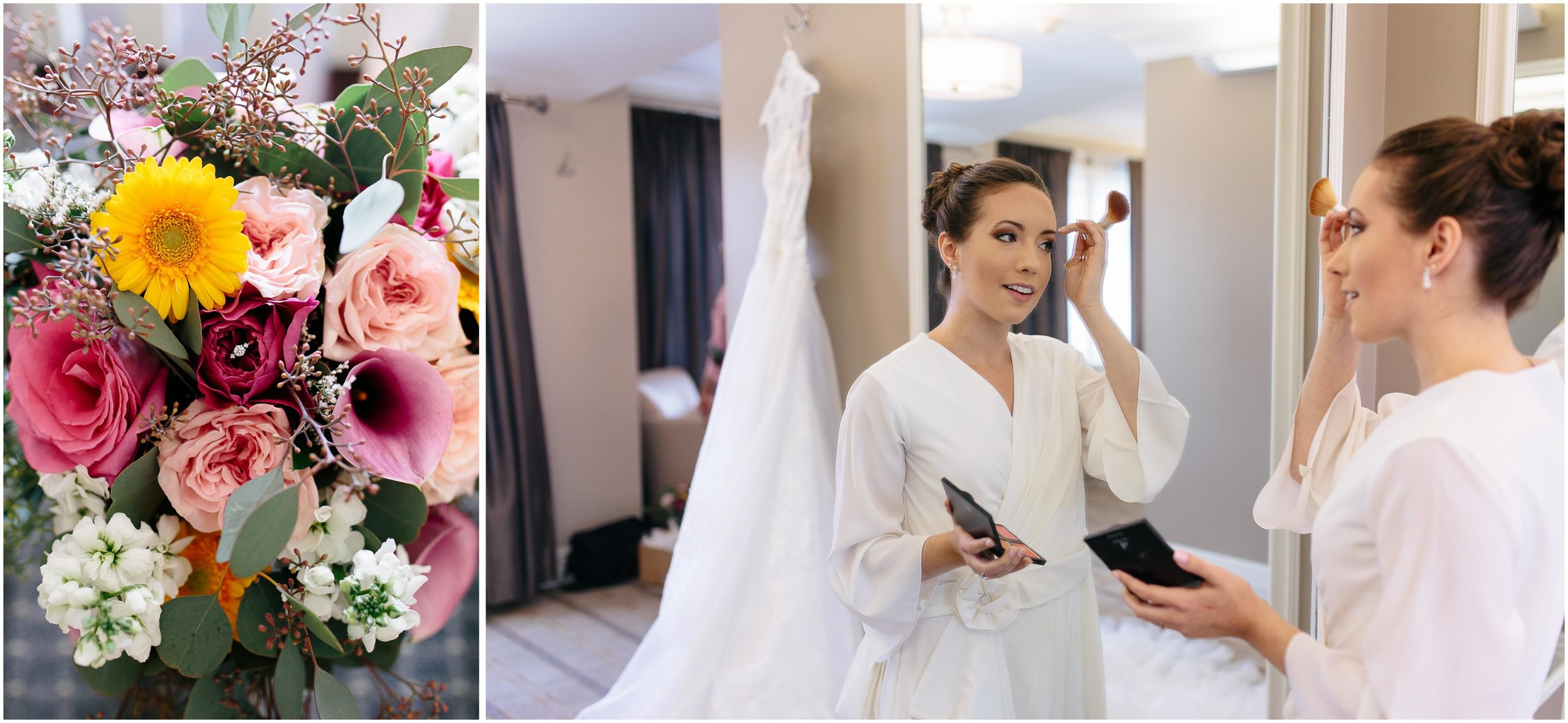 Chic New Hampshire Wedding at Manchester Country Club Bedford - bride and flowers