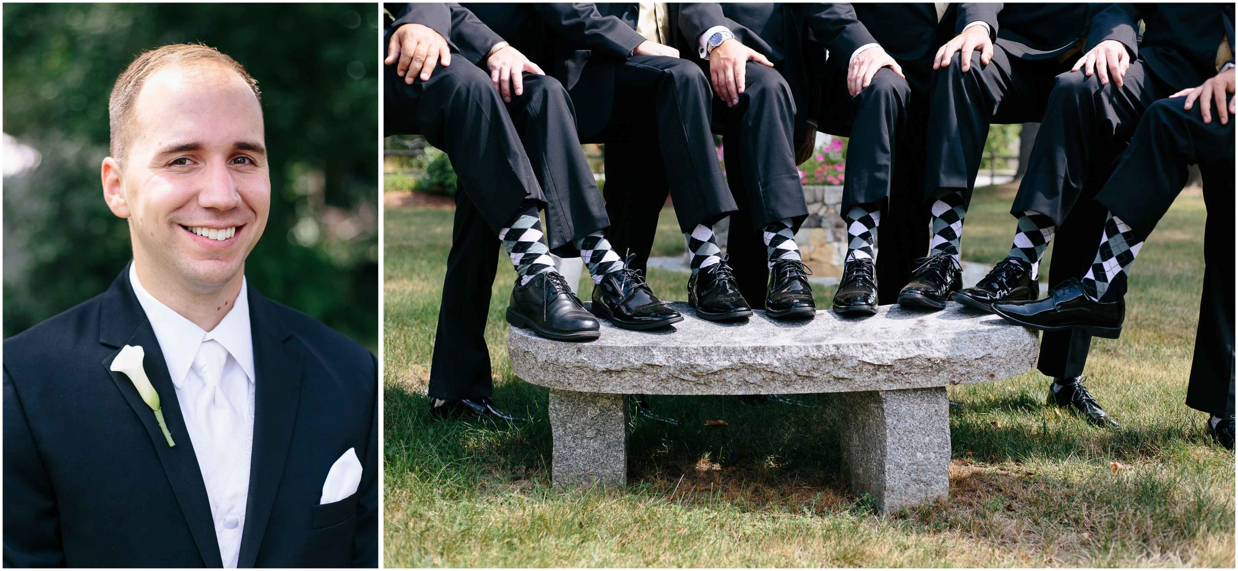 Chic New Hampshire Wedding at Manchester Country Club Bedford - groom and groomsmen