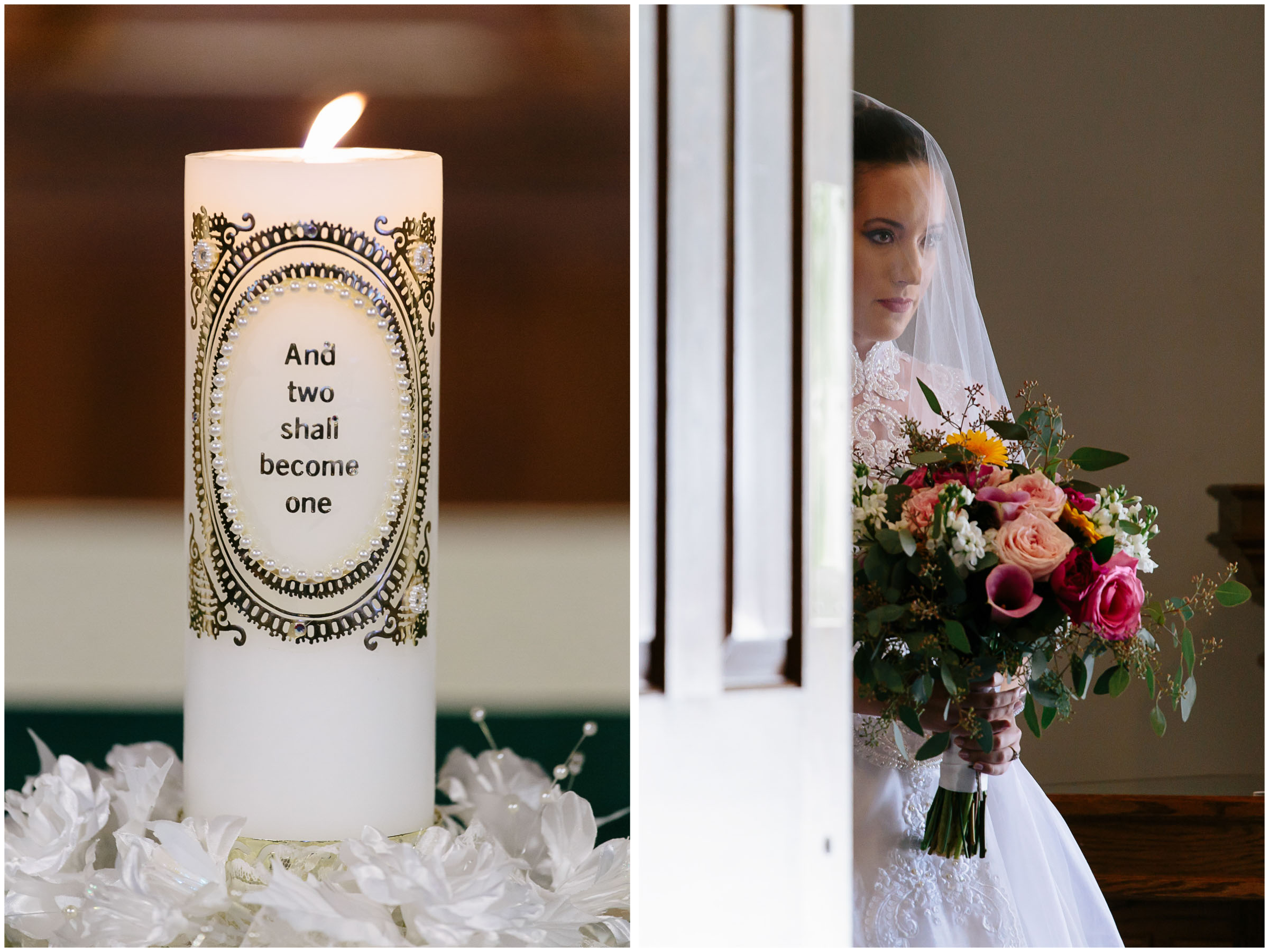 Chic New Hampshire Wedding at Manchester Country Club Bedford - bride and unity candle