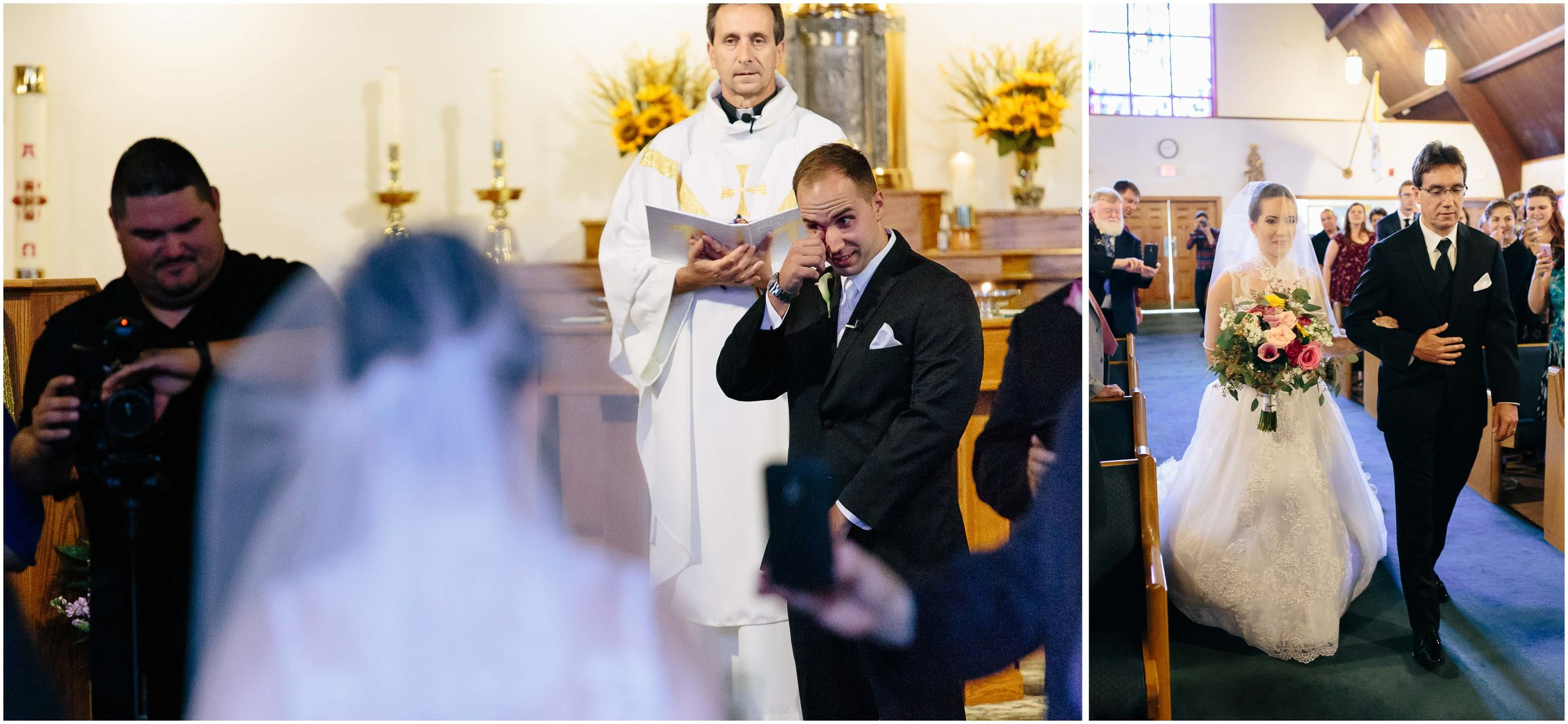 Chic New Hampshire Wedding at Manchester Country Club Bedford - emotional groom and bride walking down the aisle
