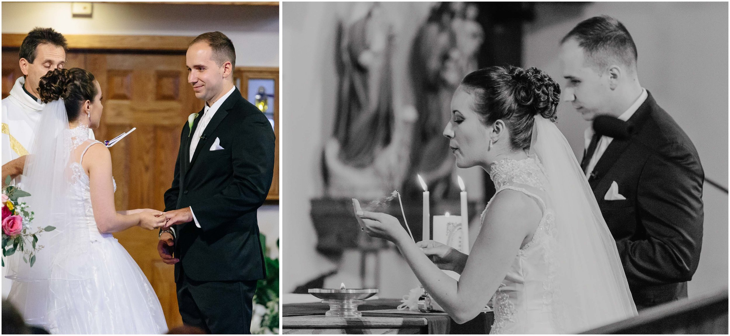 Chic New Hampshire Wedding at Manchester Country Club Bedford - exchanging rings and unity candle