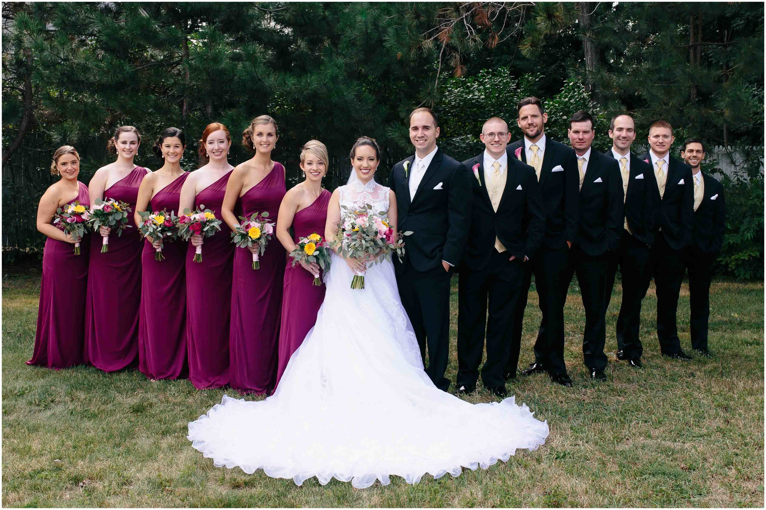 Chic New Hampshire Wedding at Manchester Country Club Bedford - wedding party