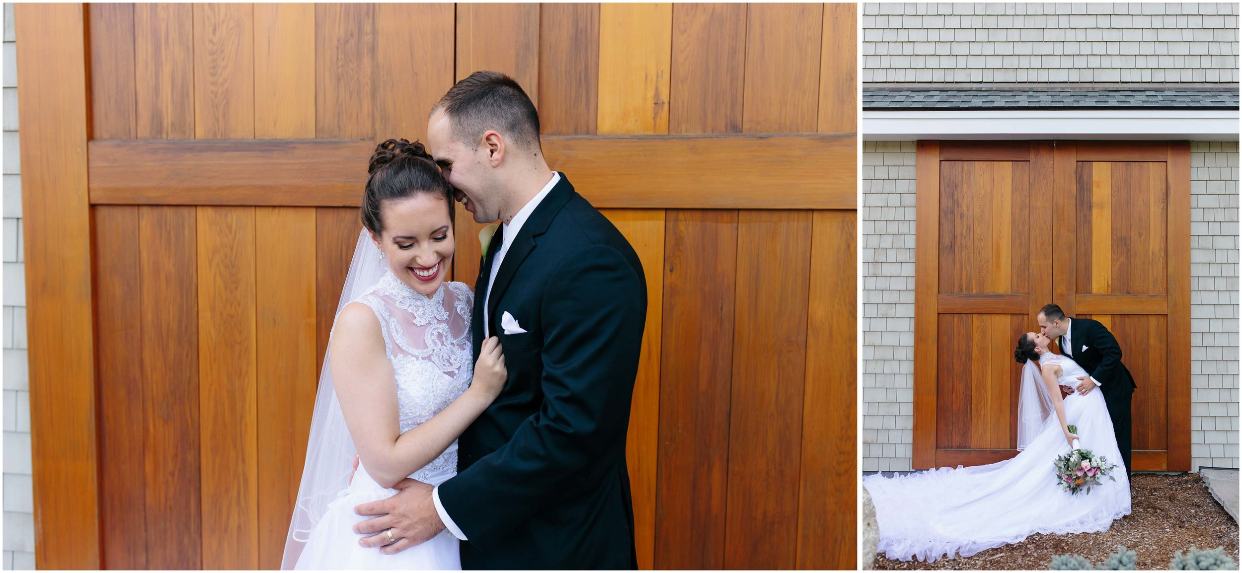 Chic New Hampshire Wedding at Manchester Country Club Bedford - bride and groom laugh and dip kiss