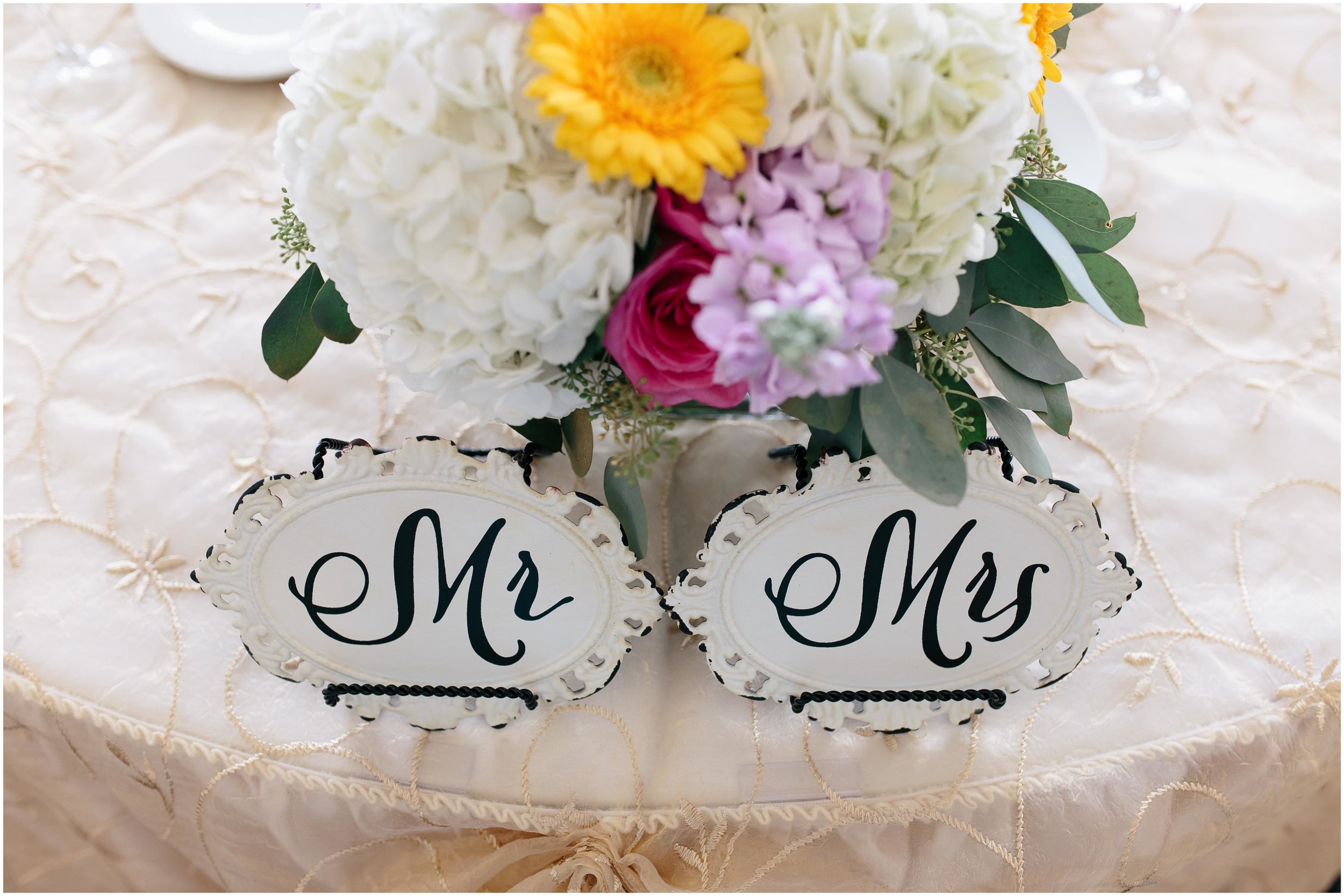 Chic New Hampshire Wedding at Manchester Country Club Bedford - Mr. and Mrs. tablescape