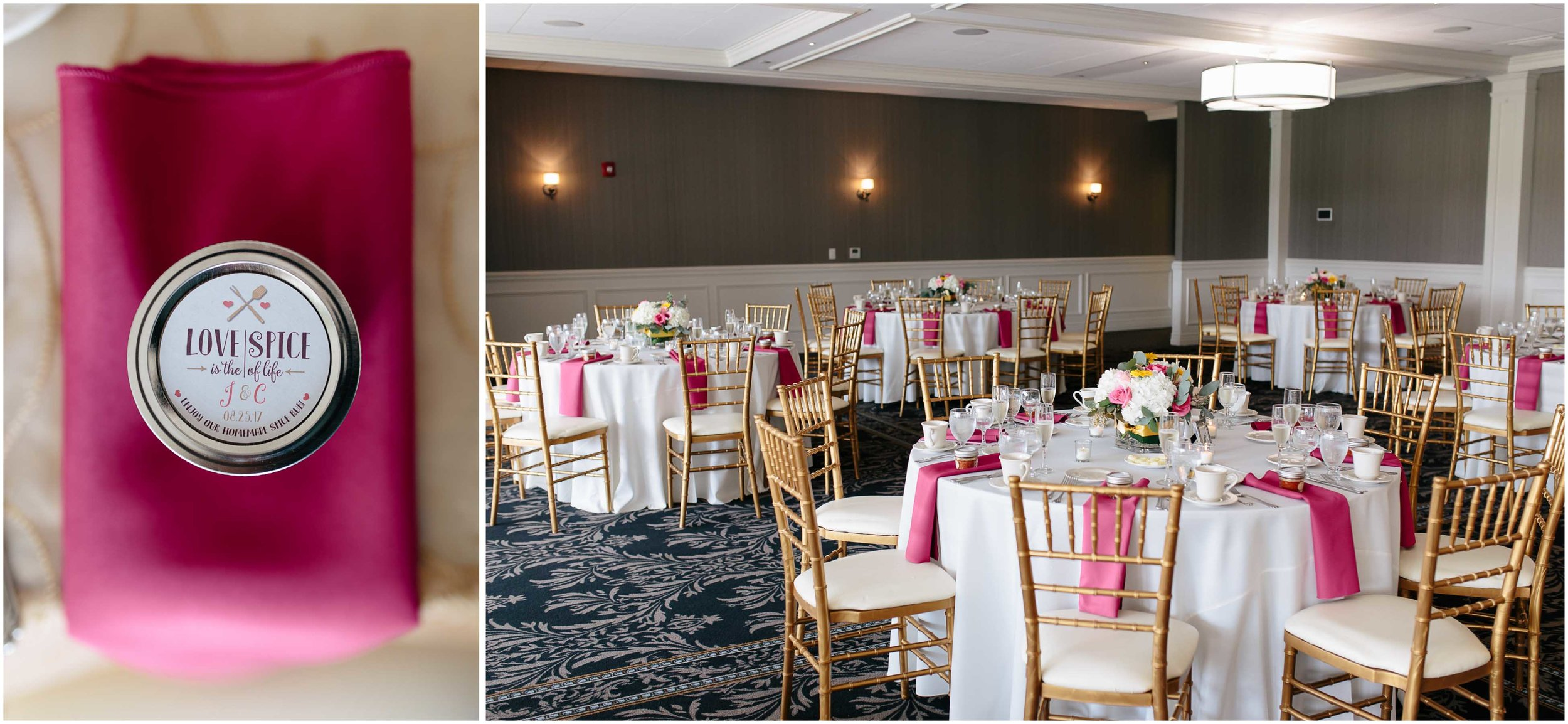 Chic New Hampshire Wedding at Manchester Country Club Bedford - tablescape and spice jar labels MaisonMason
