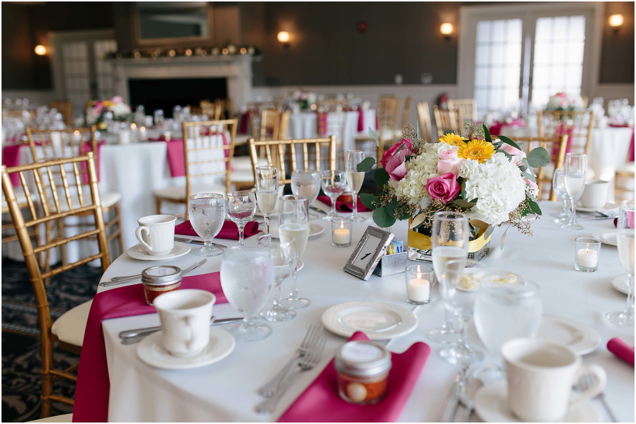 Chic New Hampshire Wedding at Manchester Country Club Bedford - tablescape