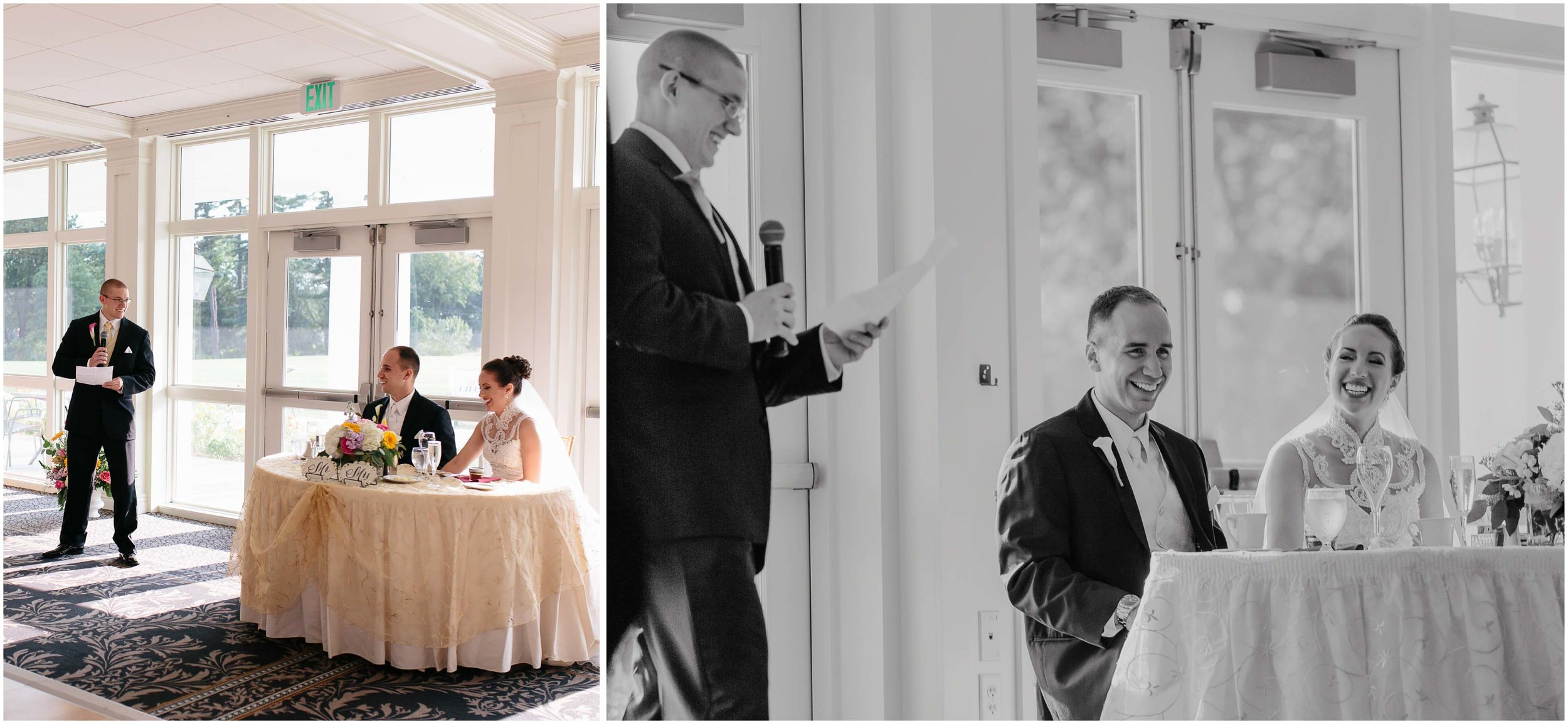 Chic New Hampshire Wedding at Manchester Country Club Bedford - best man speech/toast