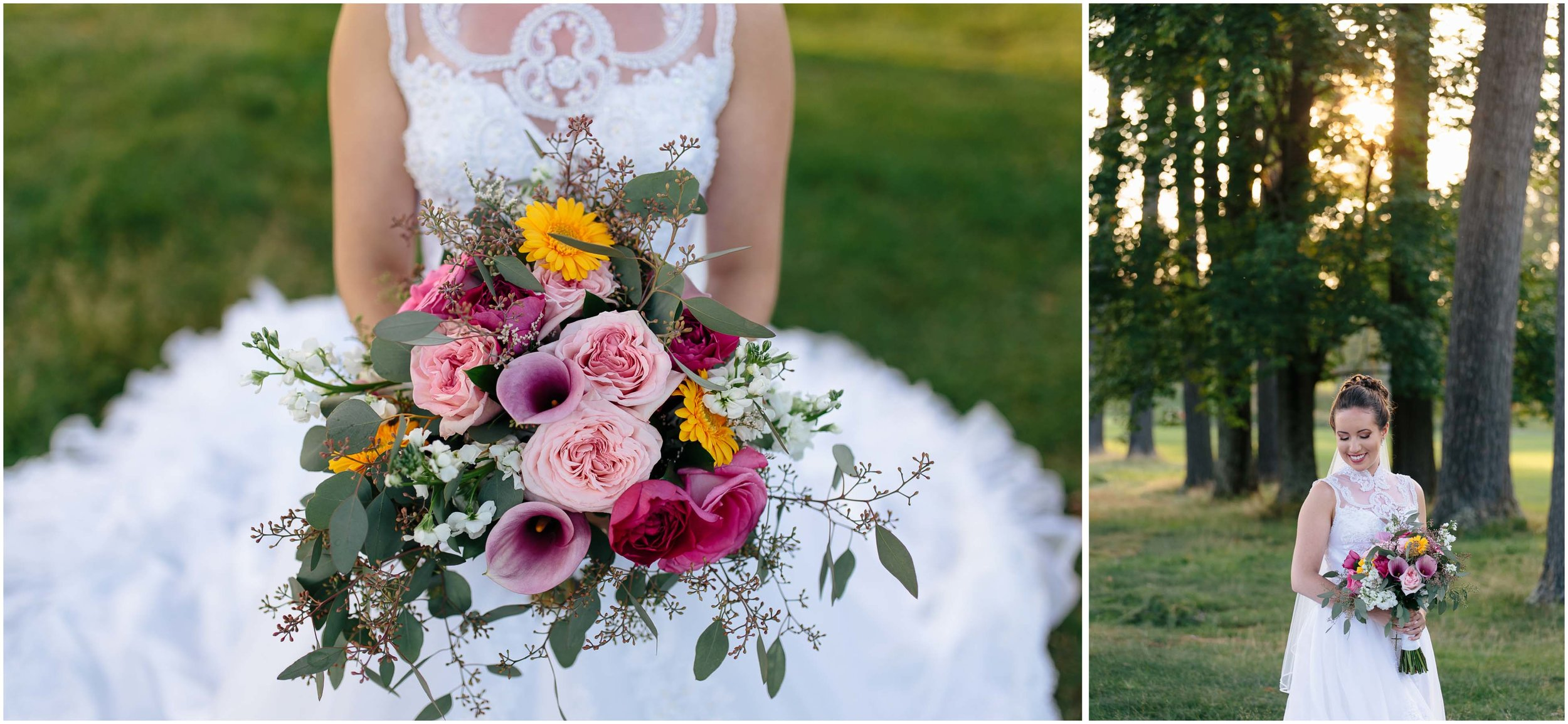 Chic New Hampshire Wedding at Manchester Country Club Bedford - bride and Chalifour's Flowers bouquet