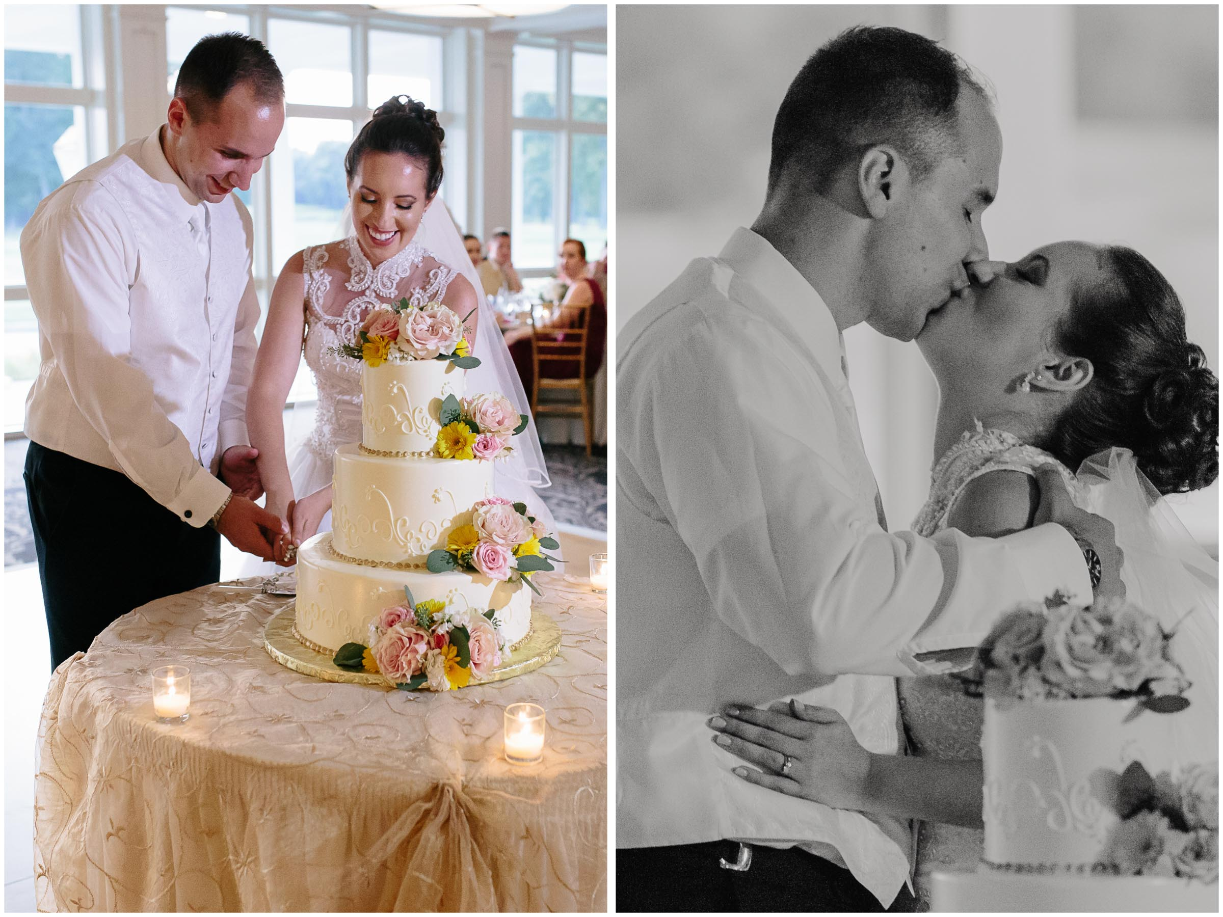 Chic New Hampshire Wedding at Manchester Country Club Bedford - bride and groom cutting cake