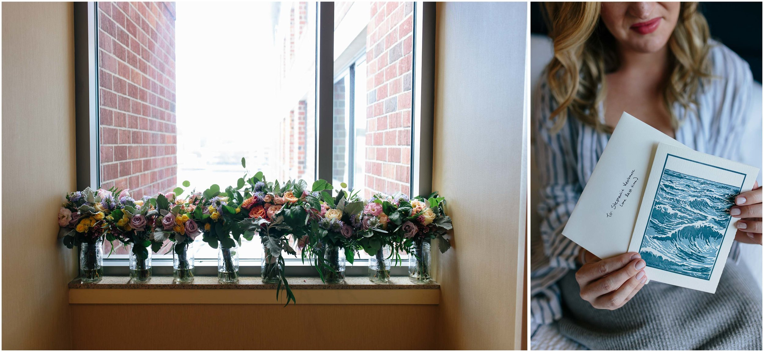 Nautical Massachusetts Jewish Wedding in the Boston Navy Yard bride and love letter and bouquets/flowers