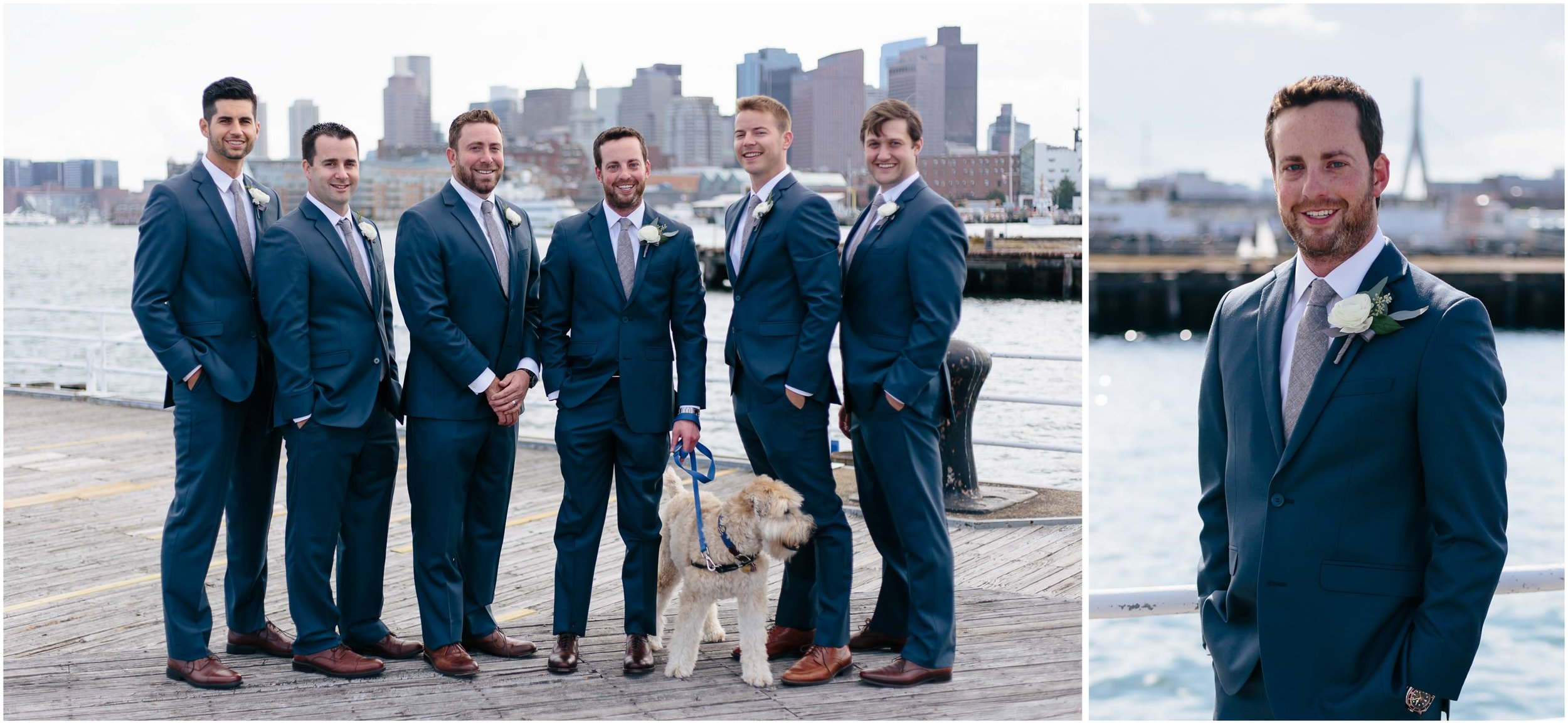 Nautical Massachusetts Jewish Wedding in the Boston Navy Yard groom and groomsmen and dog