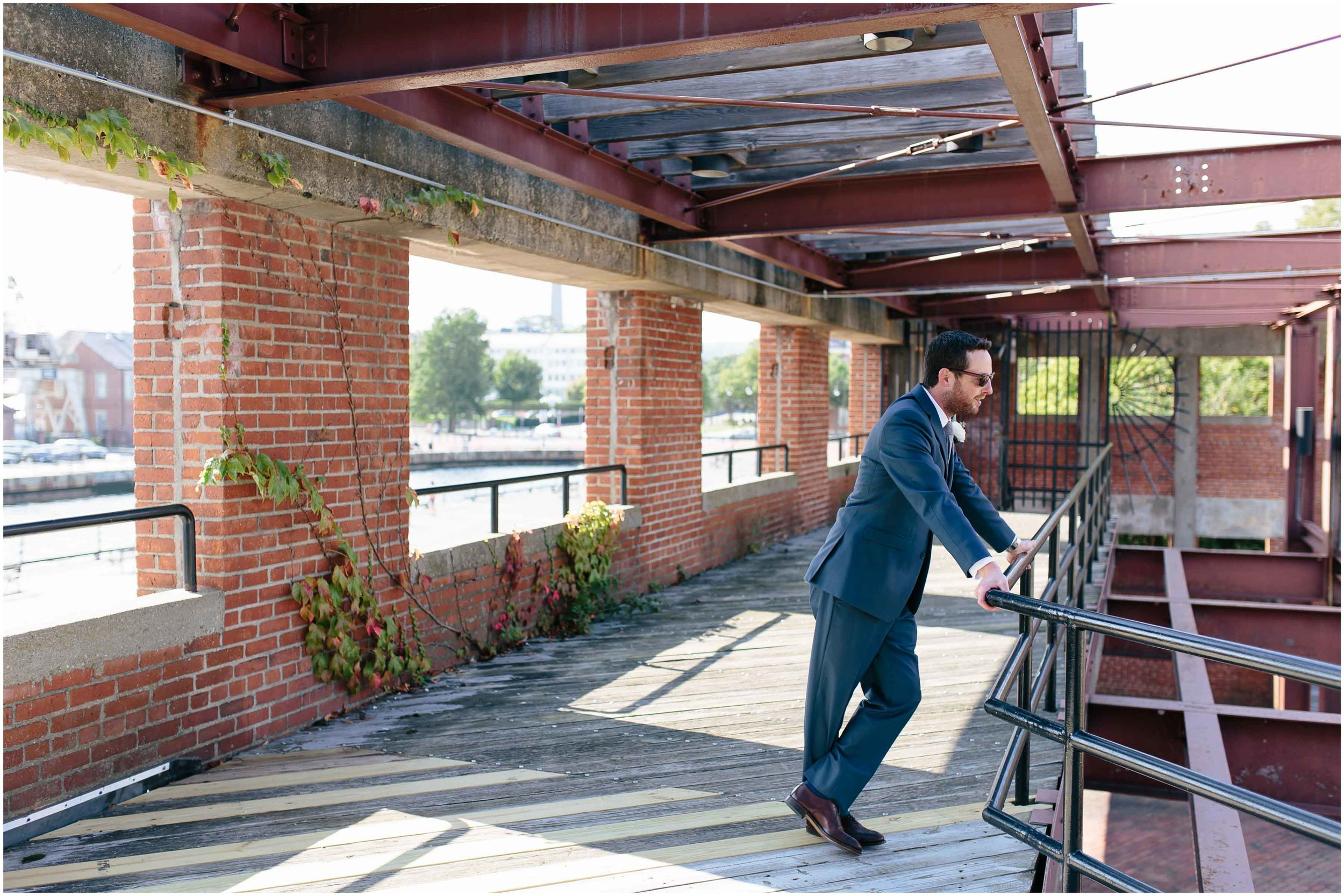 Nautical Massachusetts Jewish Wedding in the Boston Navy Yard groom