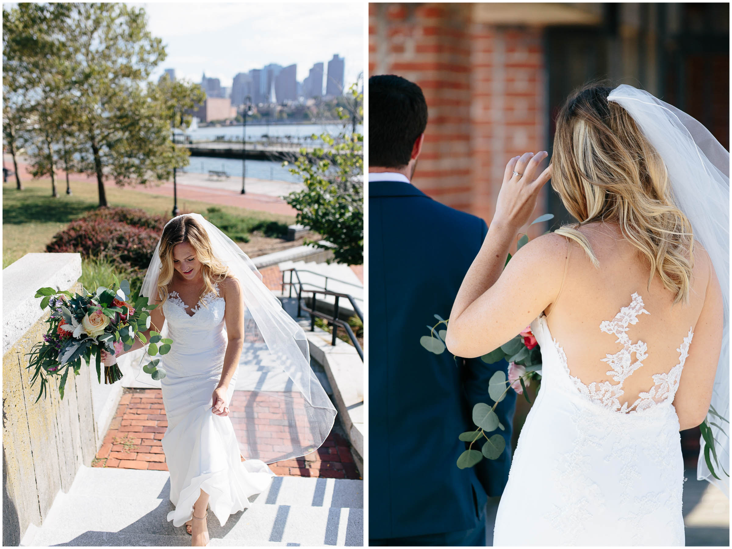 Nautical Massachusetts Jewish Wedding in the Boston Navy Yard bride and first look