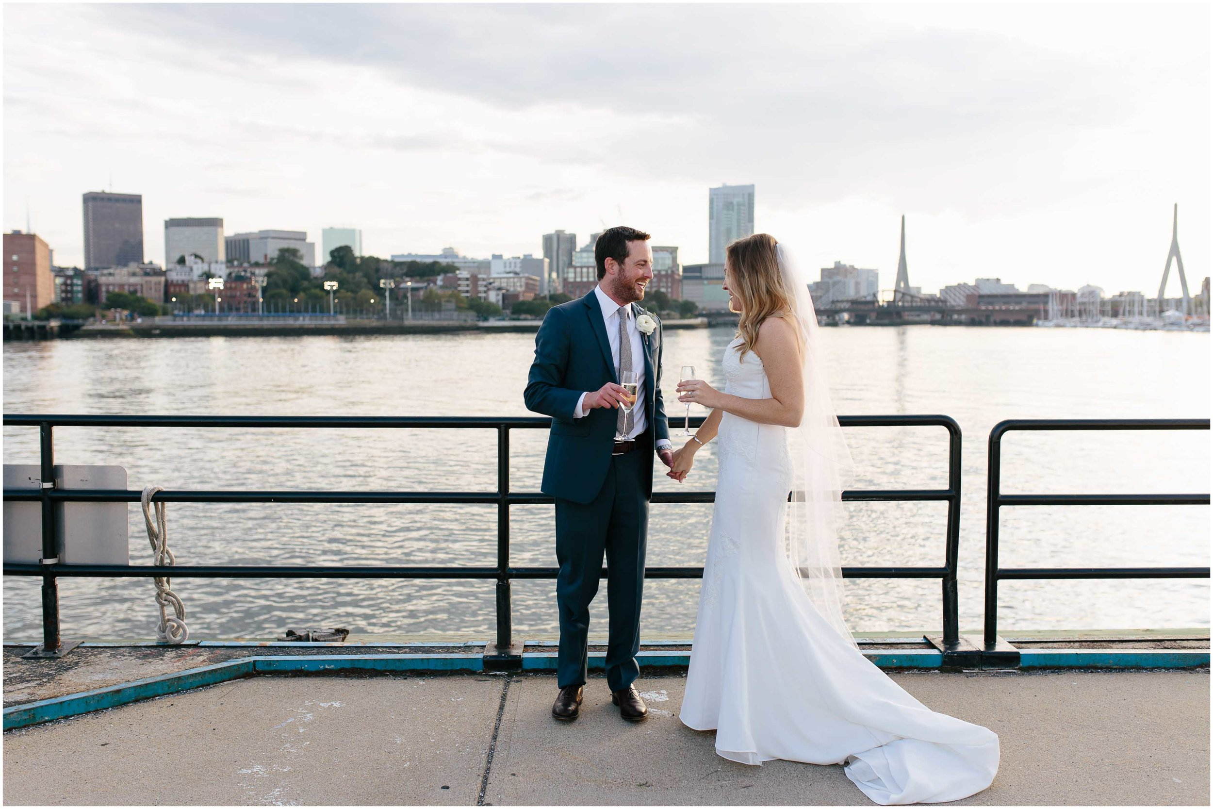 Nautical Massachusetts Jewish Wedding in the Boston Navy Yard bride and groom