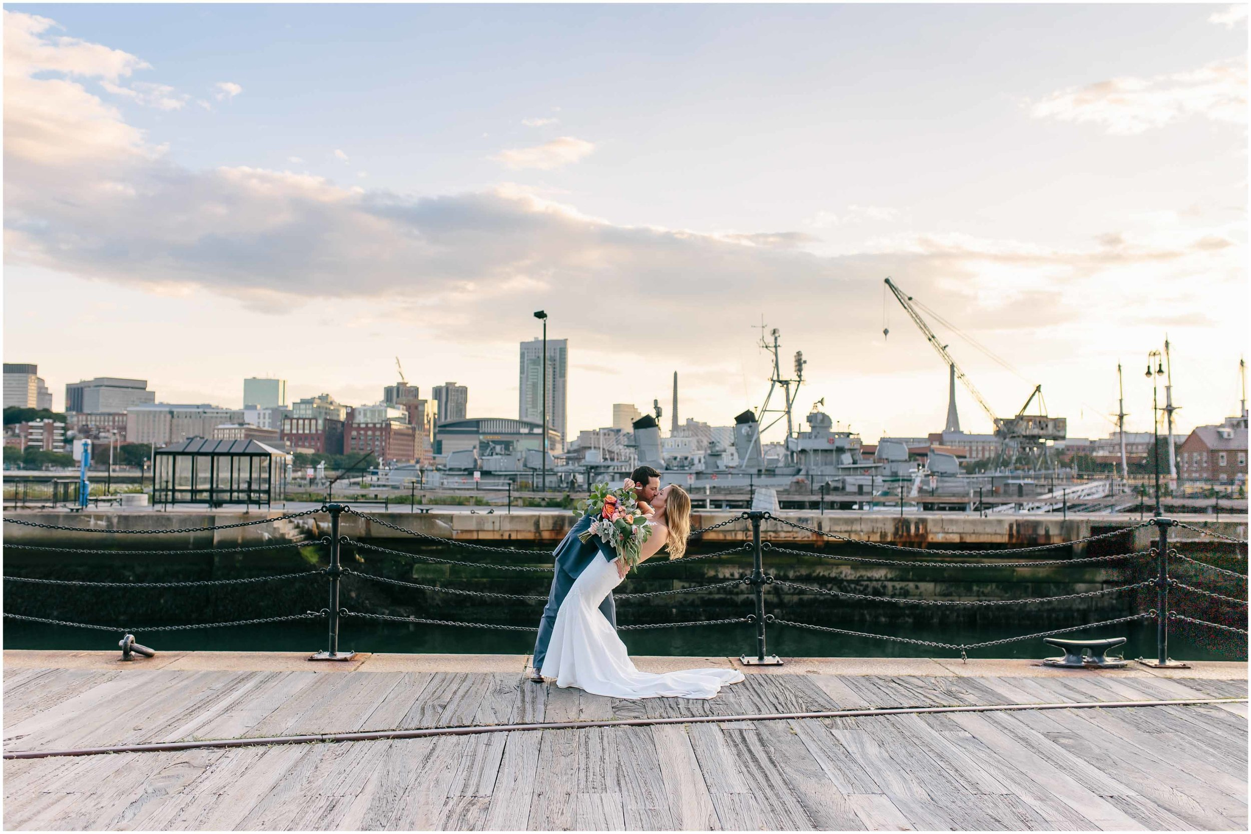 Nautical Massachusetts Jewish Wedding in the Boston Navy Yard bride and groom sunset portraits