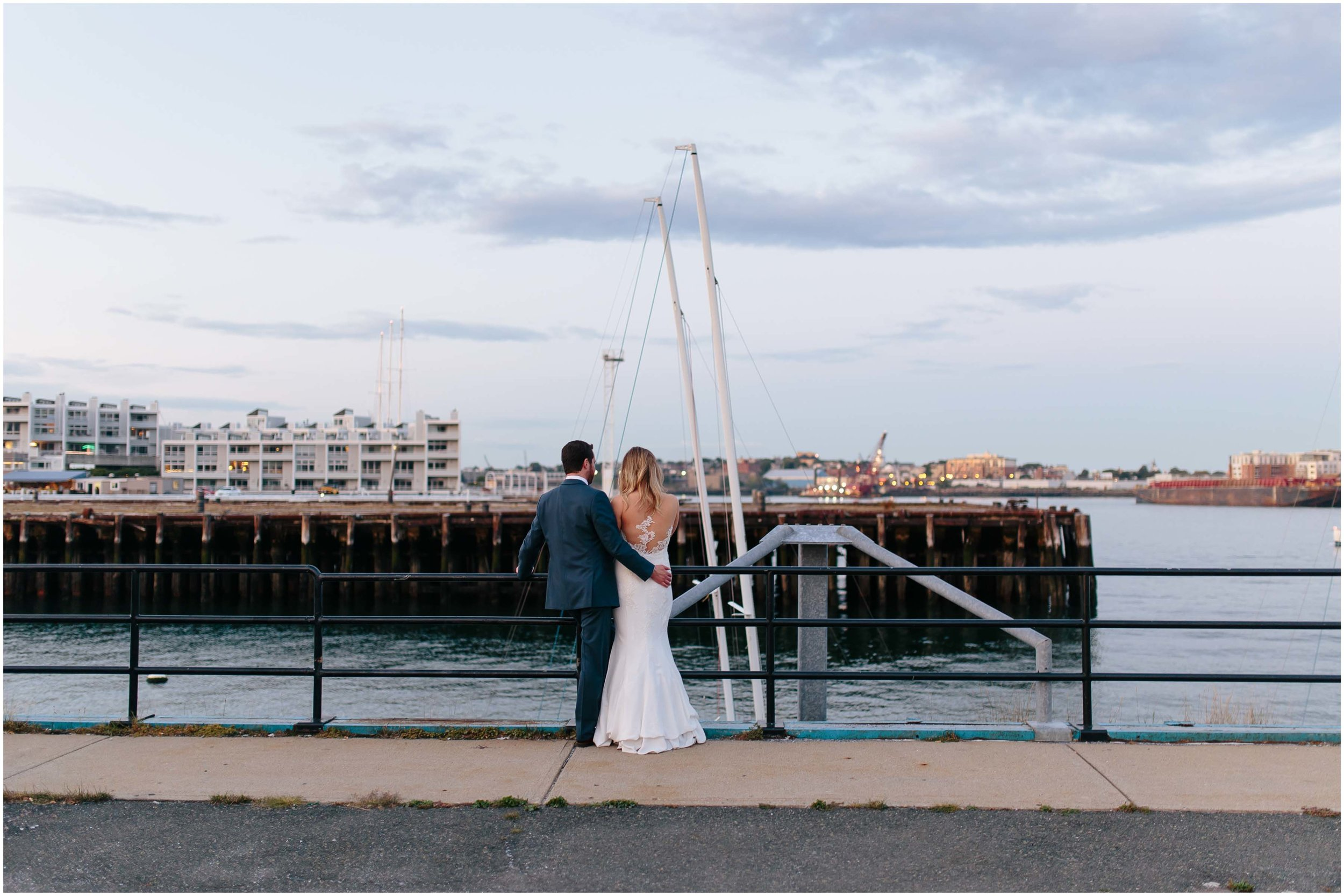 Nautical Massachusetts Jewish Wedding in the Boston Navy Yard reception bride and groom